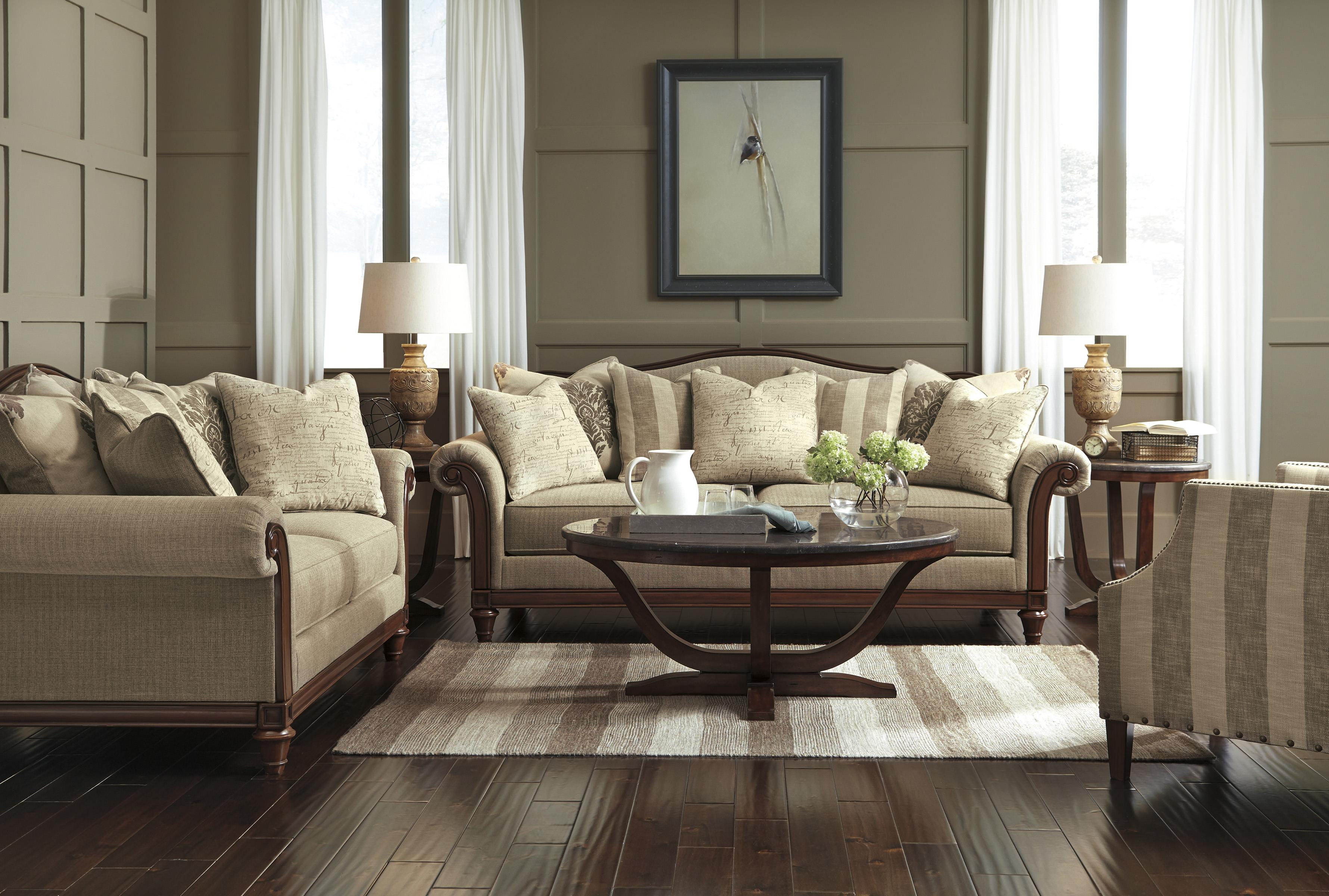 Transitional Sofa with Camel Back and Showood Trim by