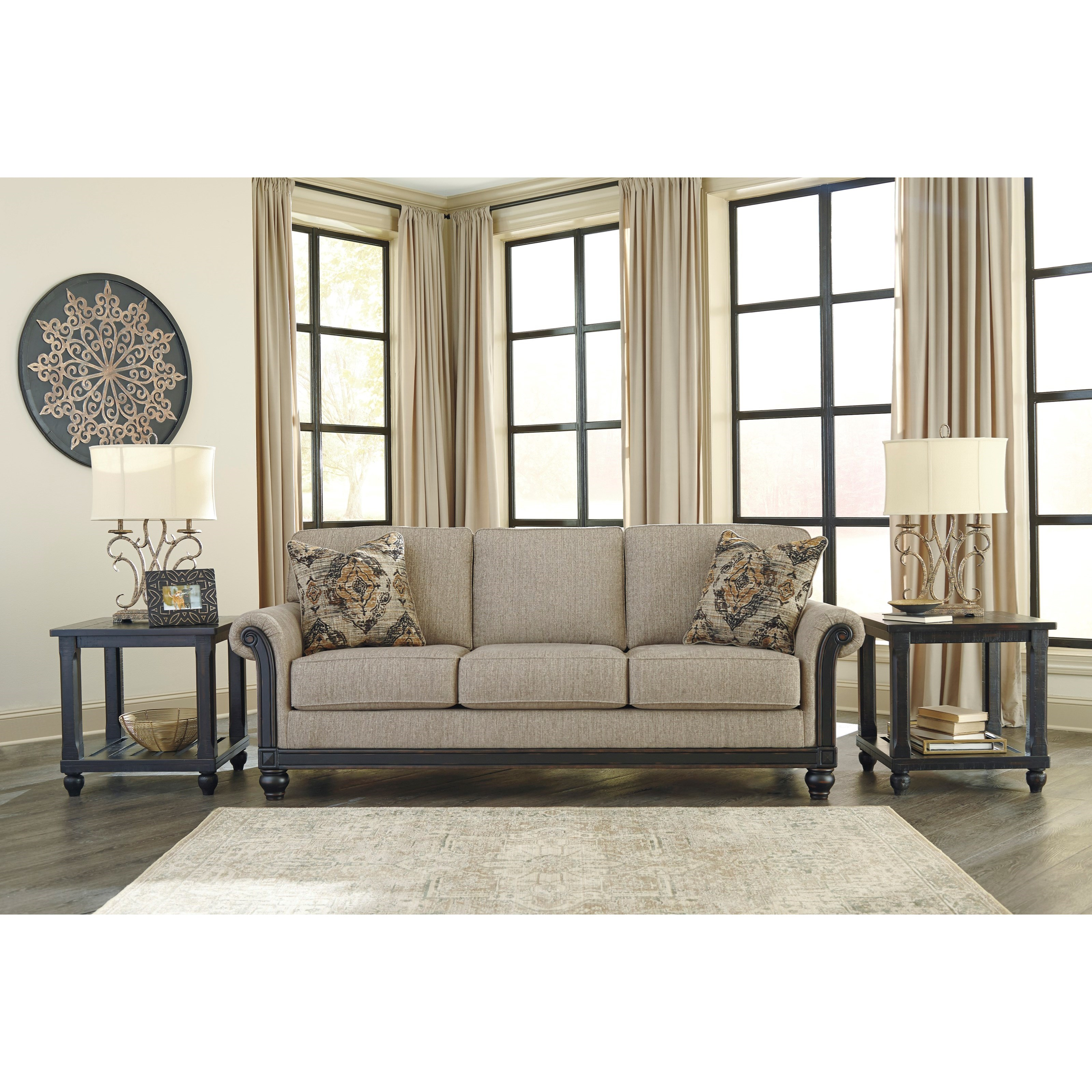 Transitional Sofa with Rolled Arms & Showood Trim in Dark