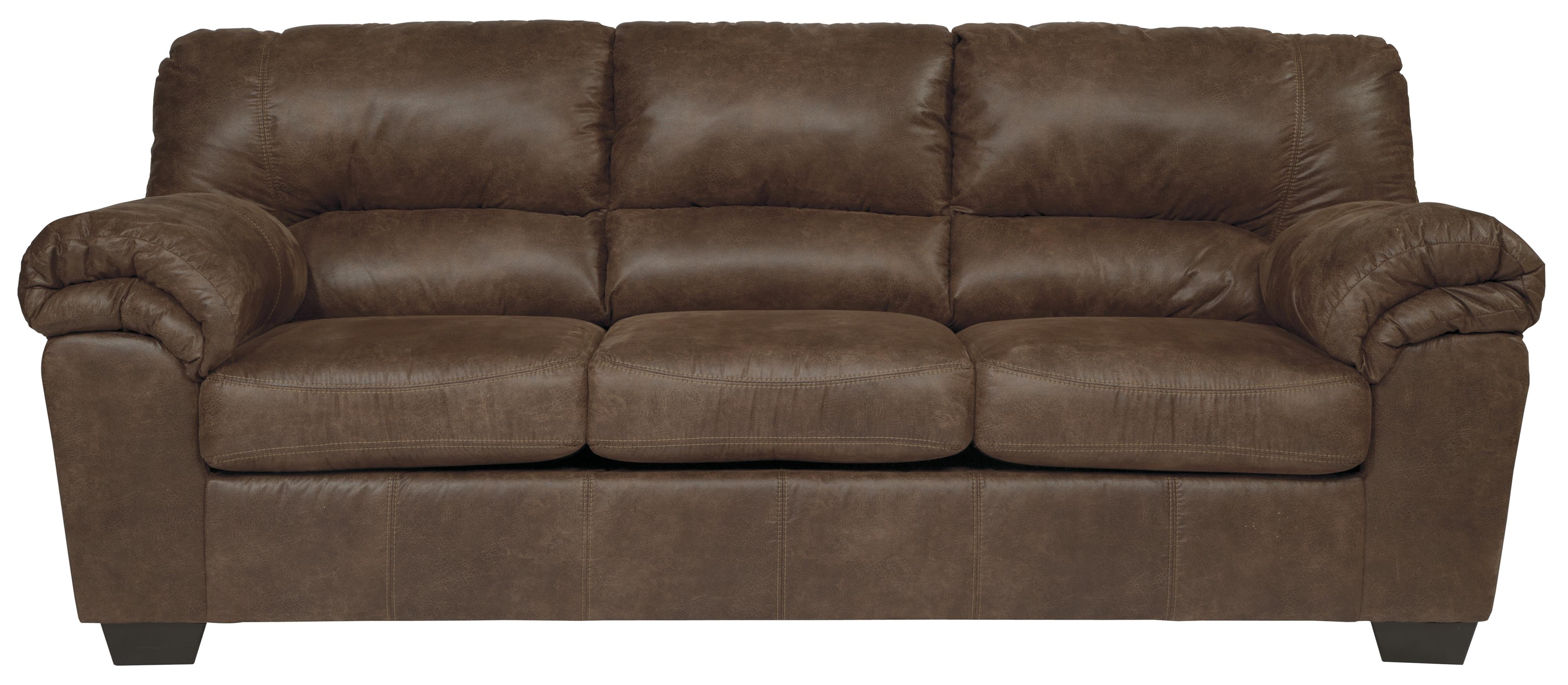 Casual faux leather full sofa sleeper by signature design for Casual couch