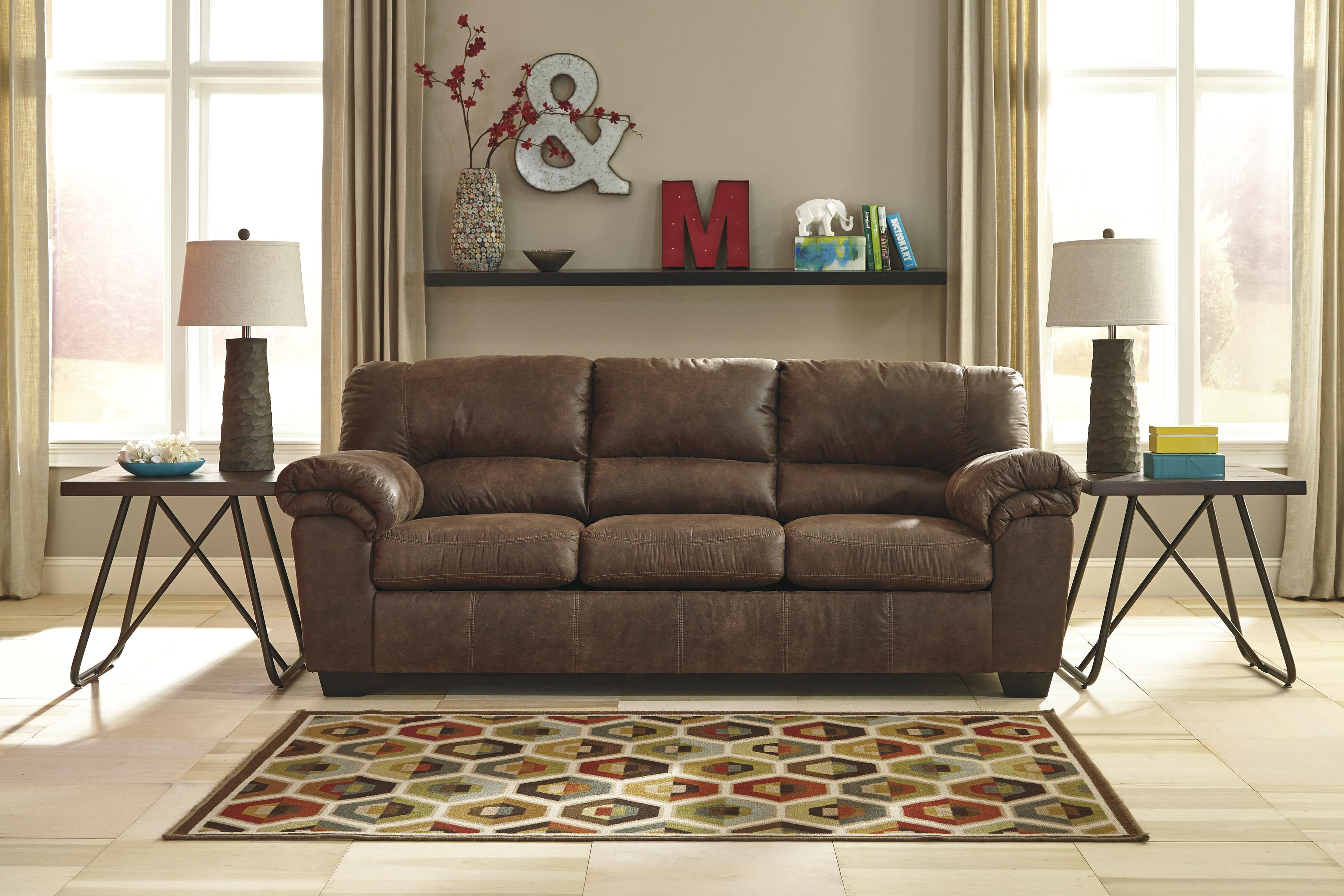 casual faux leather sofa by signature design by ashley wolf and gardiner wolf furniture. Black Bedroom Furniture Sets. Home Design Ideas
