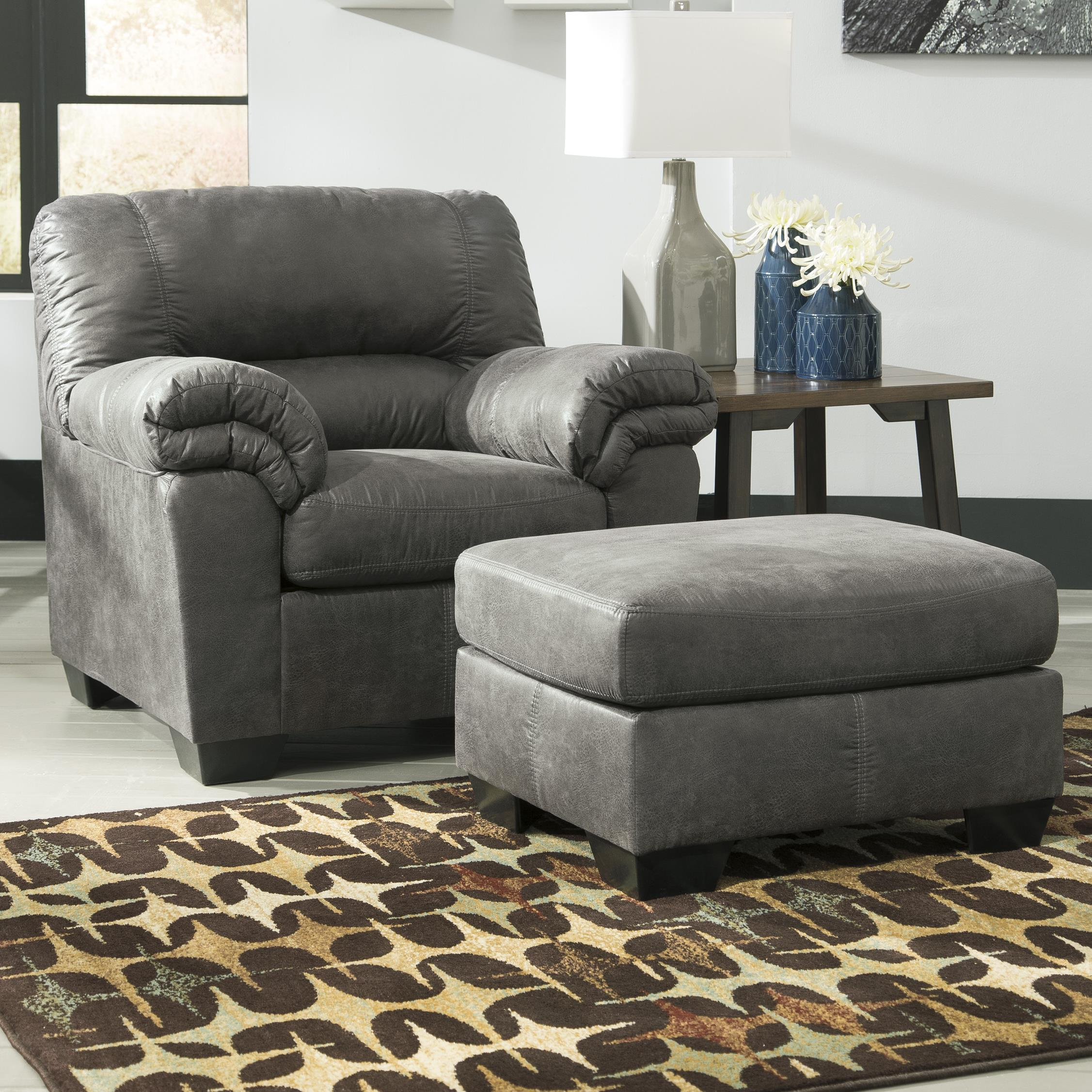 Casual Faux Leather Chair & Ottoman by Signature Design by