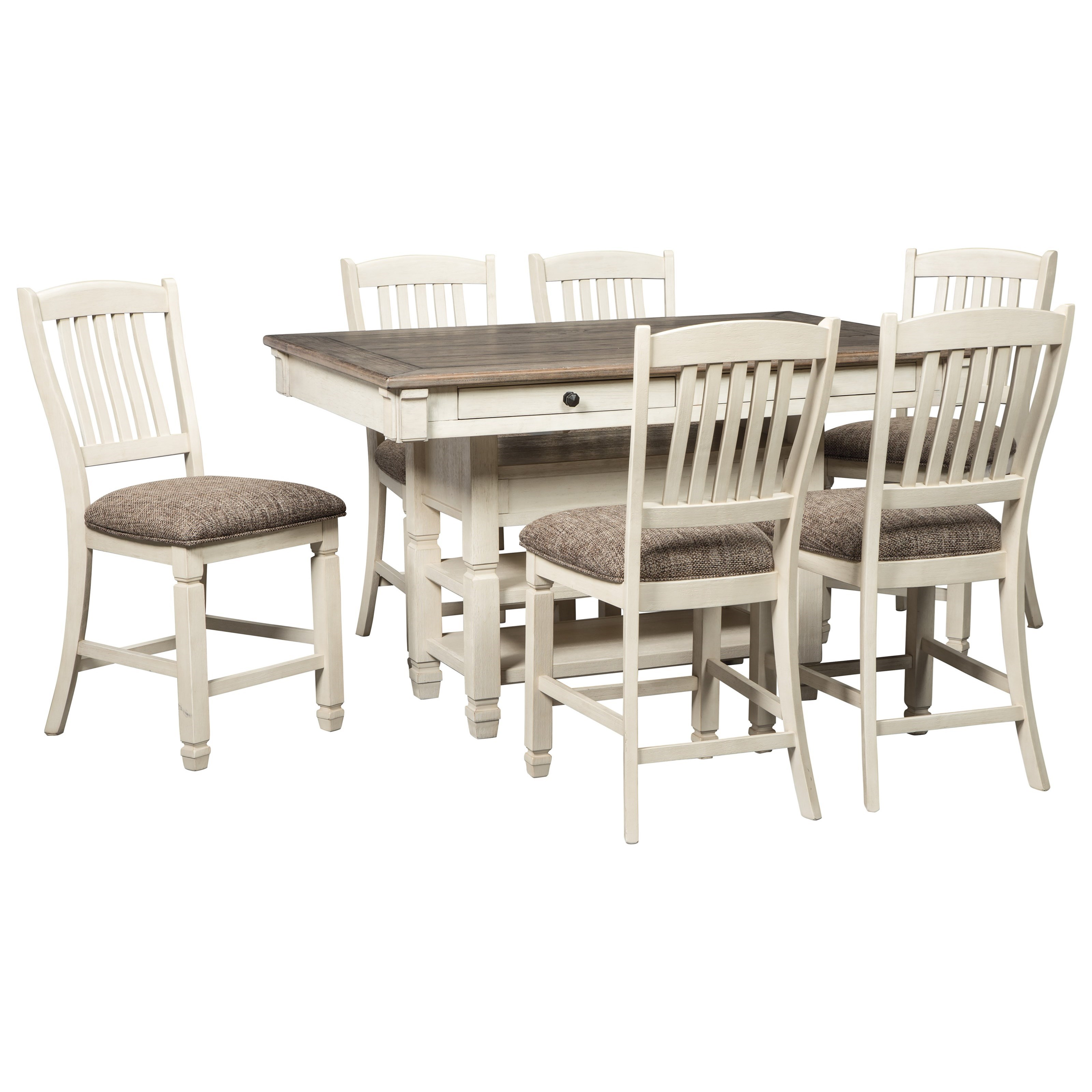Relaxed vintage 7 piece counter table with wine storage for Wine and design west ashley