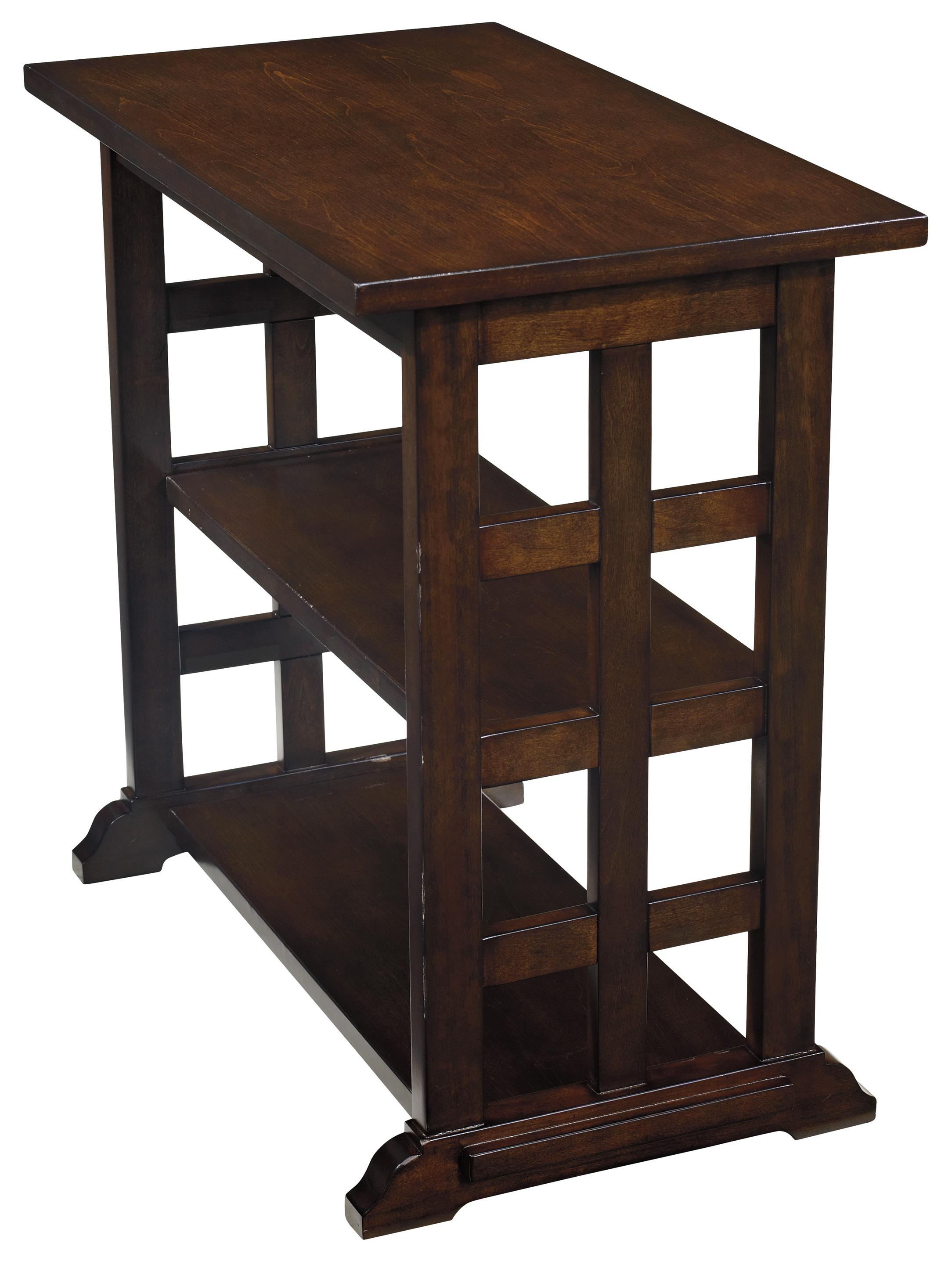 chair side end table with lattice design 2 shelves by signature design by ashley wolf and. Black Bedroom Furniture Sets. Home Design Ideas