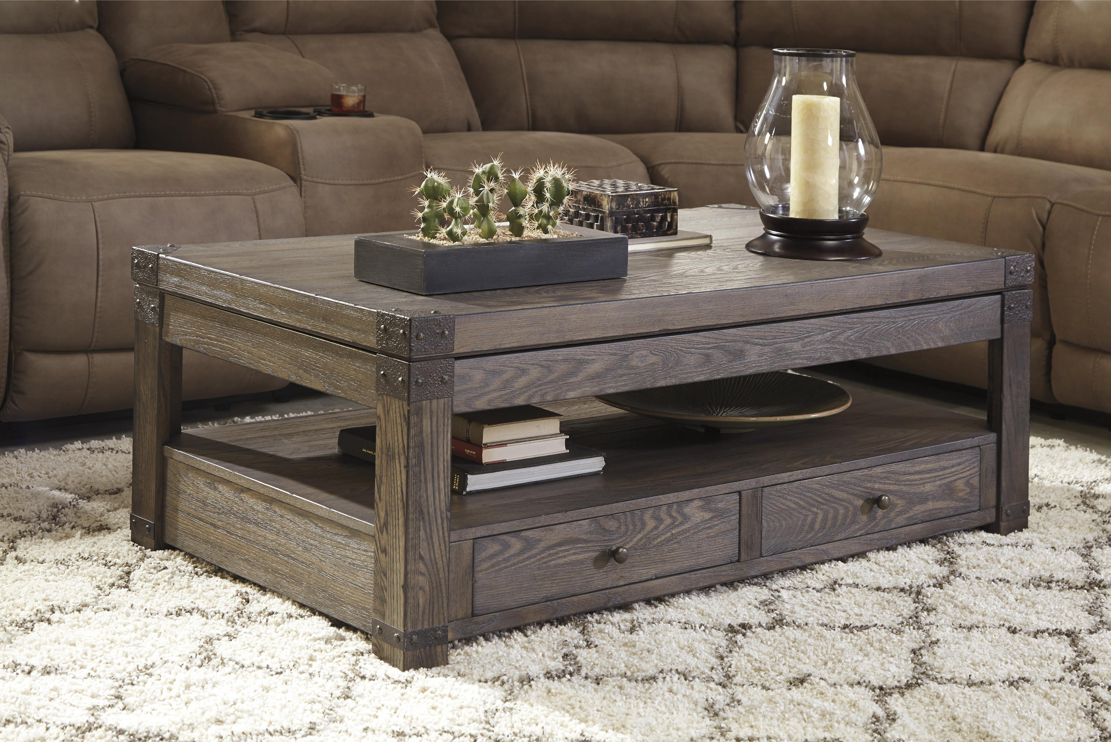 Elm Veneer Rectangular Lift Top Cocktail Table In Grayish Brown Finish By Signature Design By