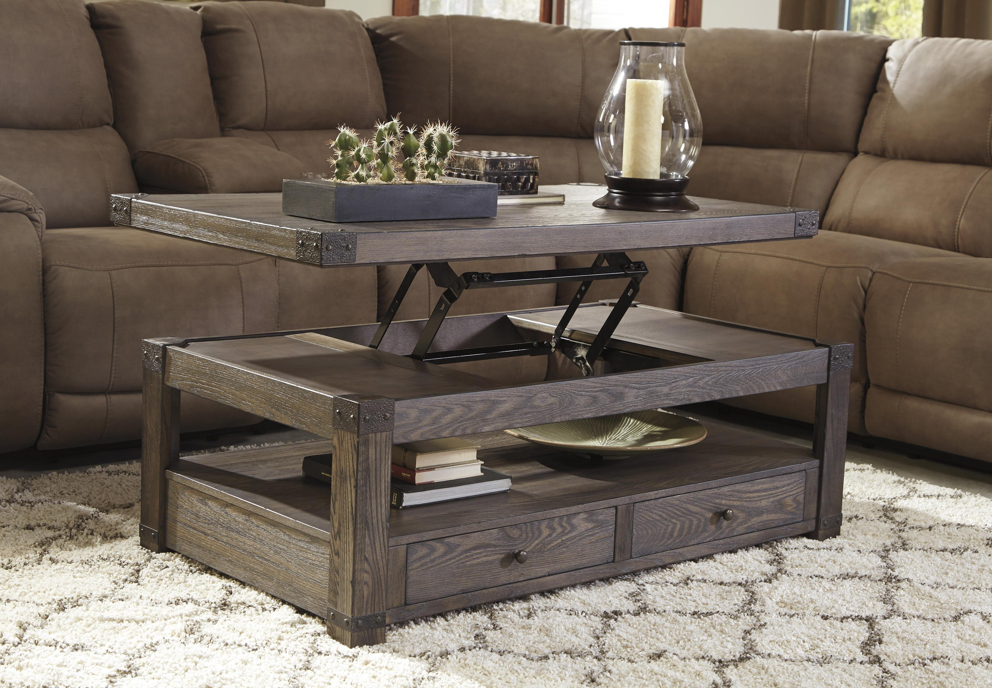 Elm veneer rectangular lift top cocktail table in grayish for Coffee tables york pa