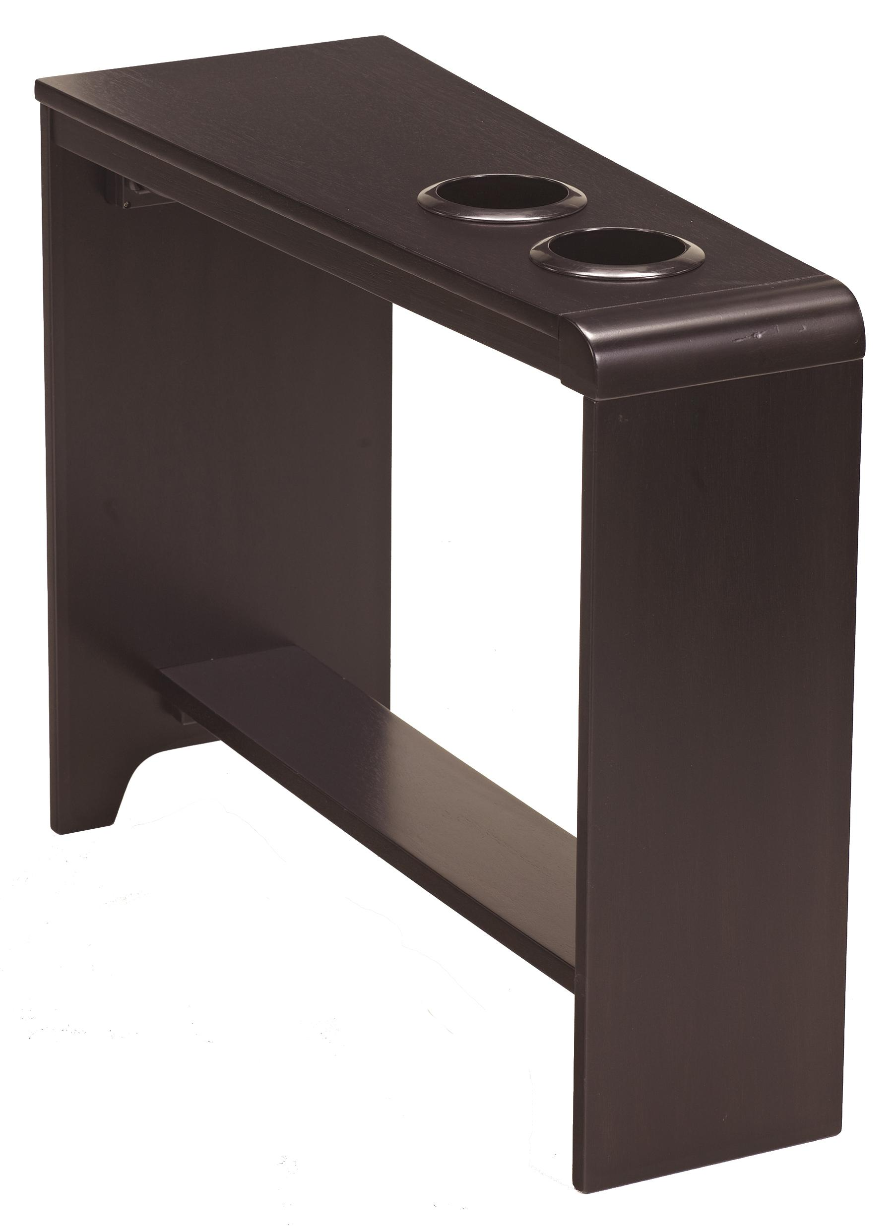 Chair side end table with 2 cup holders powerstrip usb for Side end table