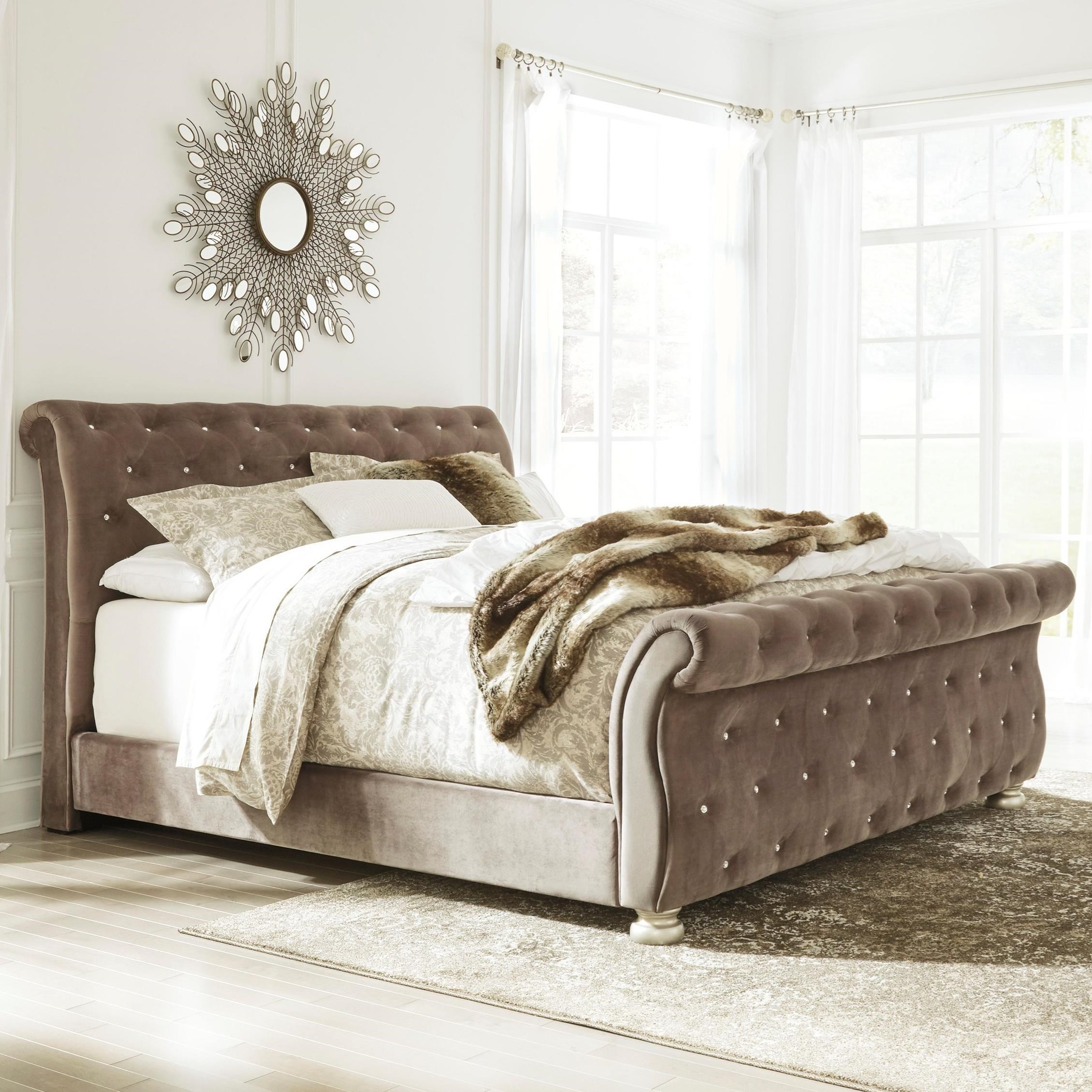 king upholstered sleigh bed with faux crystal tufting by signature design by ashley wolf and. Black Bedroom Furniture Sets. Home Design Ideas