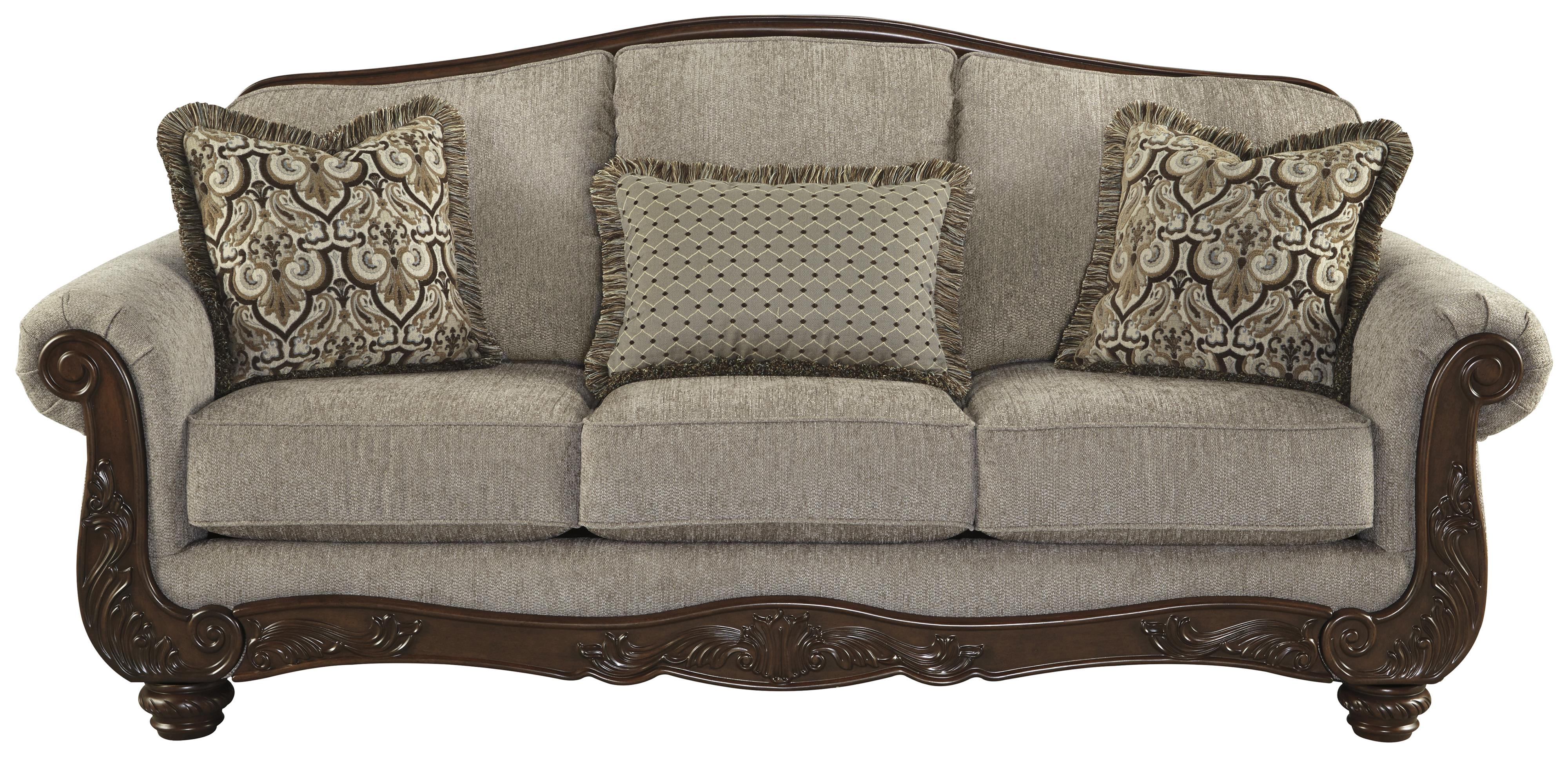 Traditional sofa with showood trim camel back by for Traditional sectional