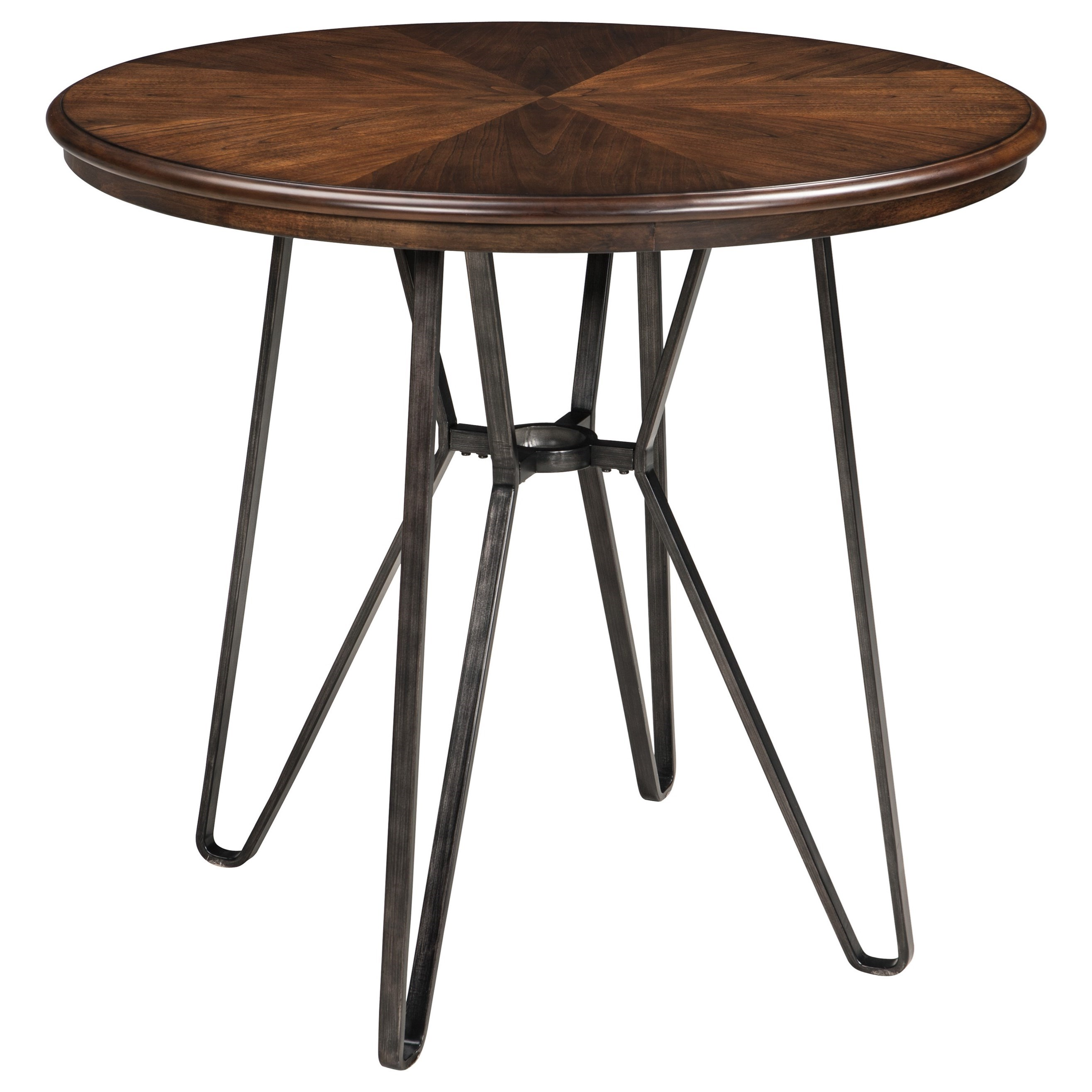 round dining room counter table with metal hair legs by signature design by ashley wolf and. Black Bedroom Furniture Sets. Home Design Ideas