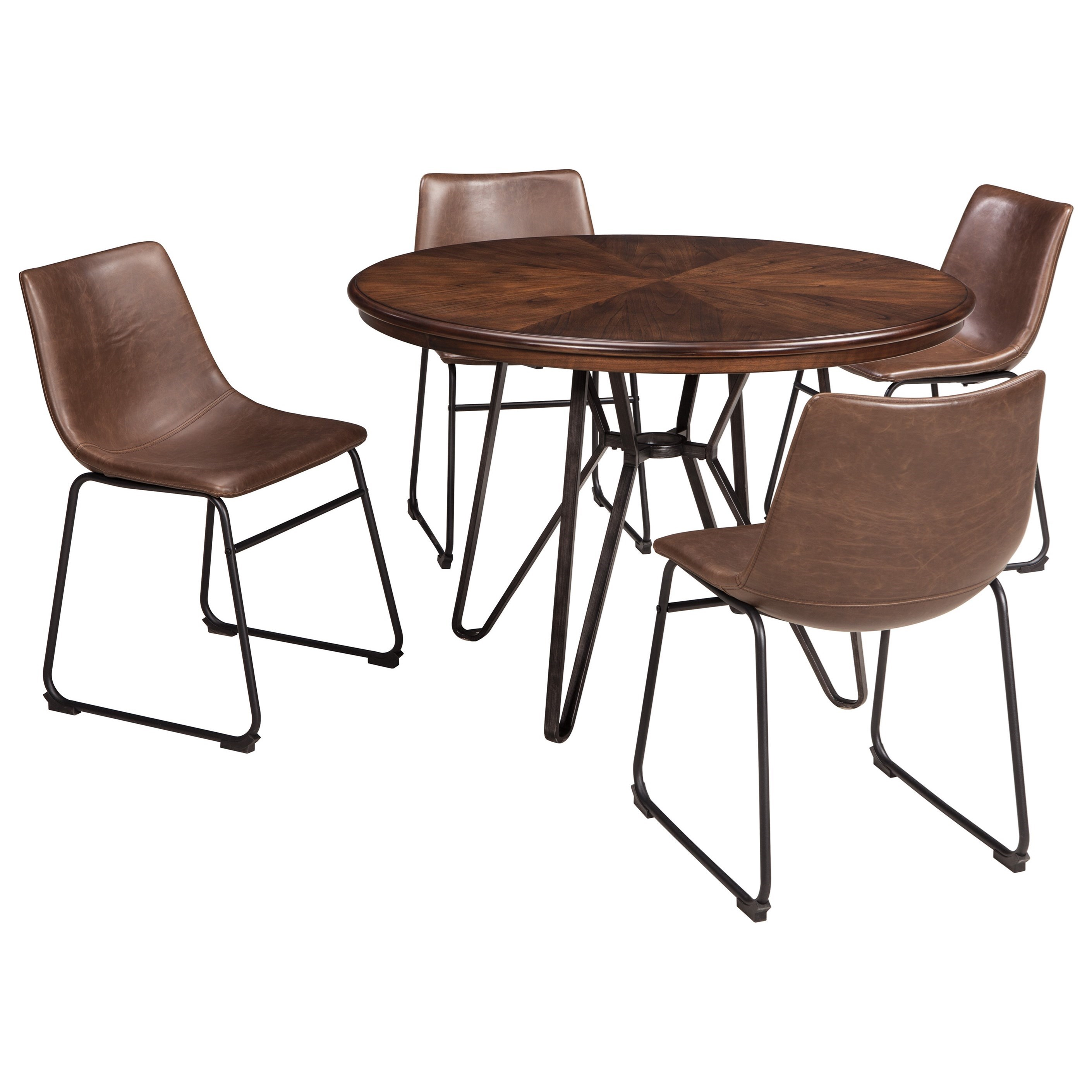 5 piece round dining table set by signature design by. Black Bedroom Furniture Sets. Home Design Ideas