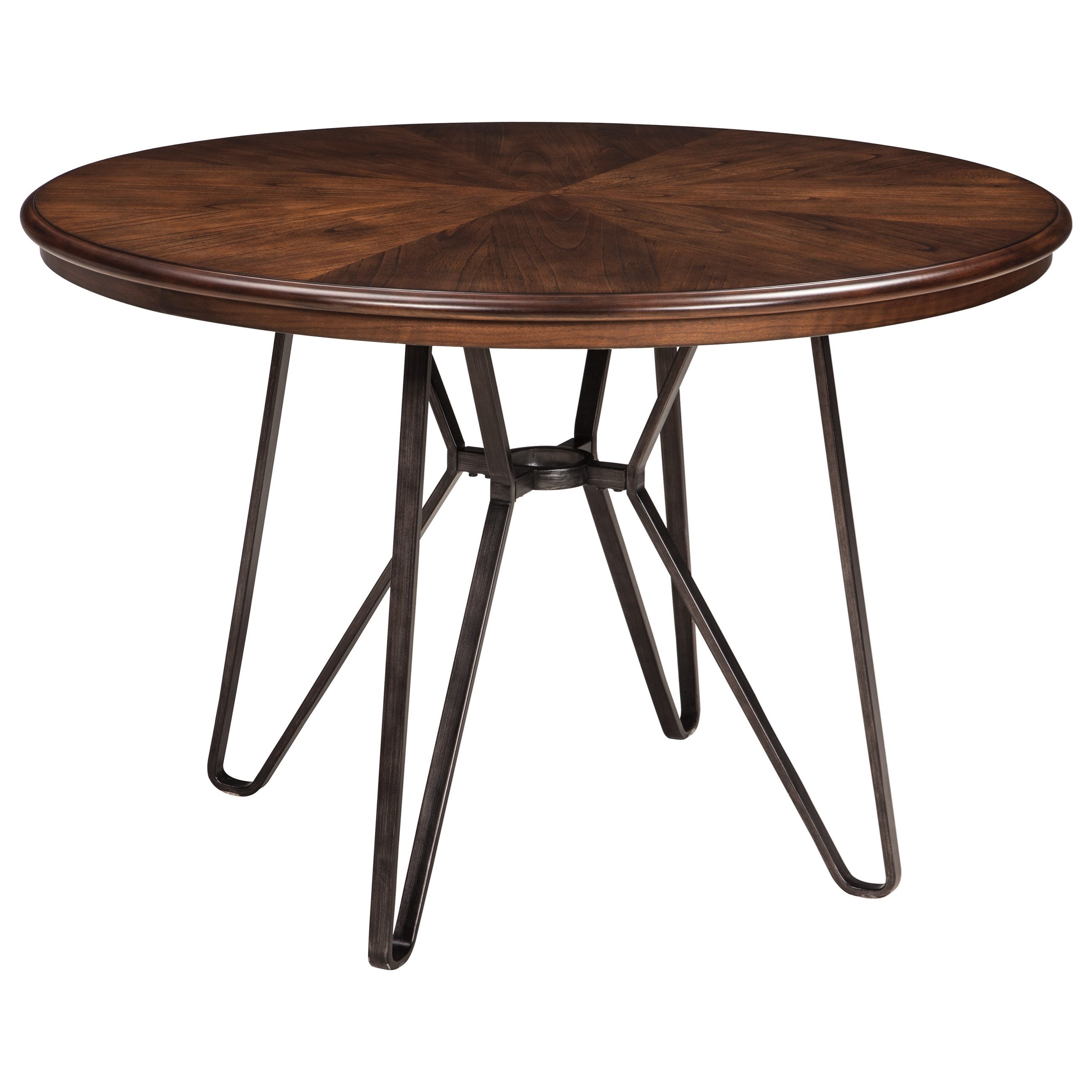 round dining room table with metal hairpin legs by signature design by ashley wolf and. Black Bedroom Furniture Sets. Home Design Ideas