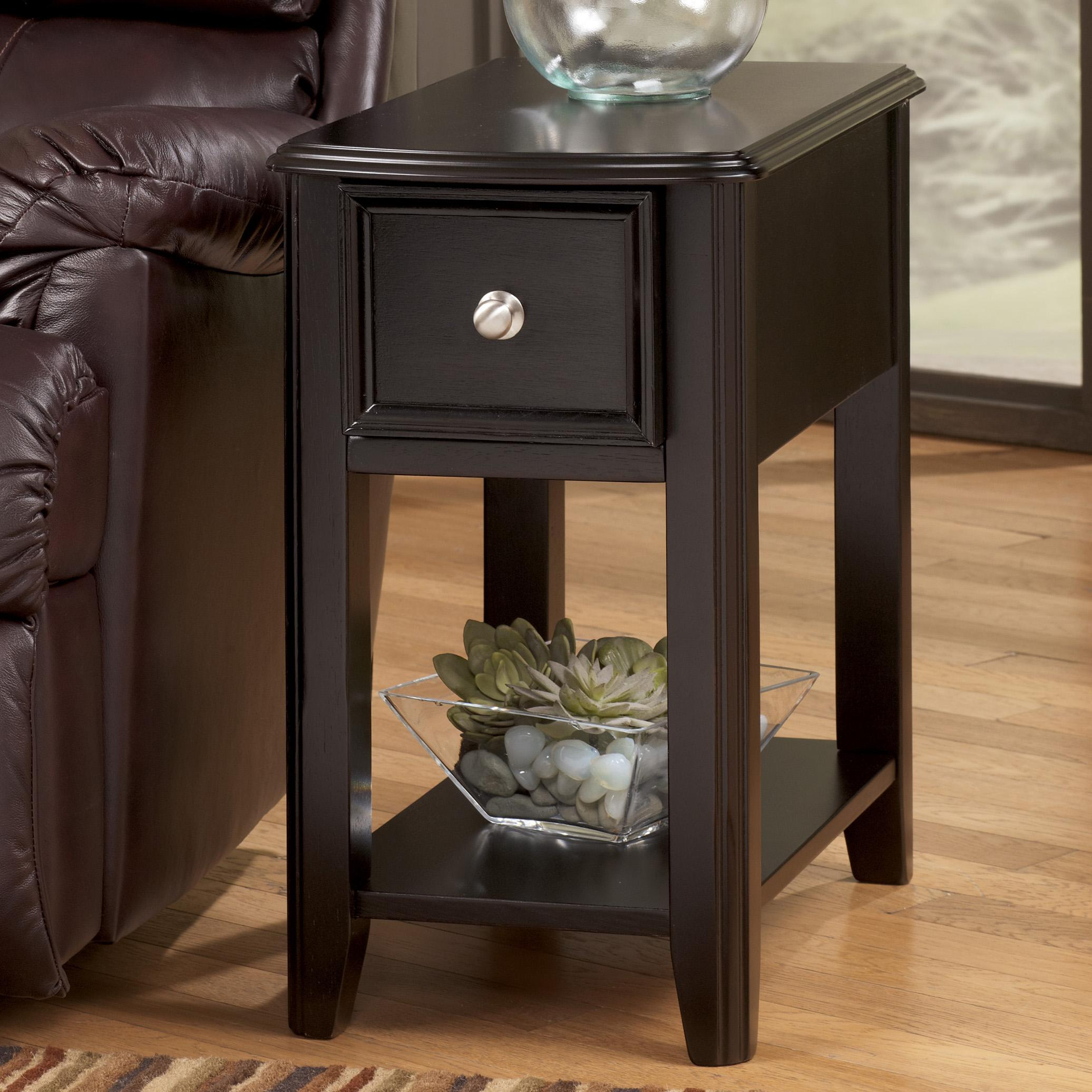 Dark brown contemporary carlyle chairside end table by for Contemporary end tables