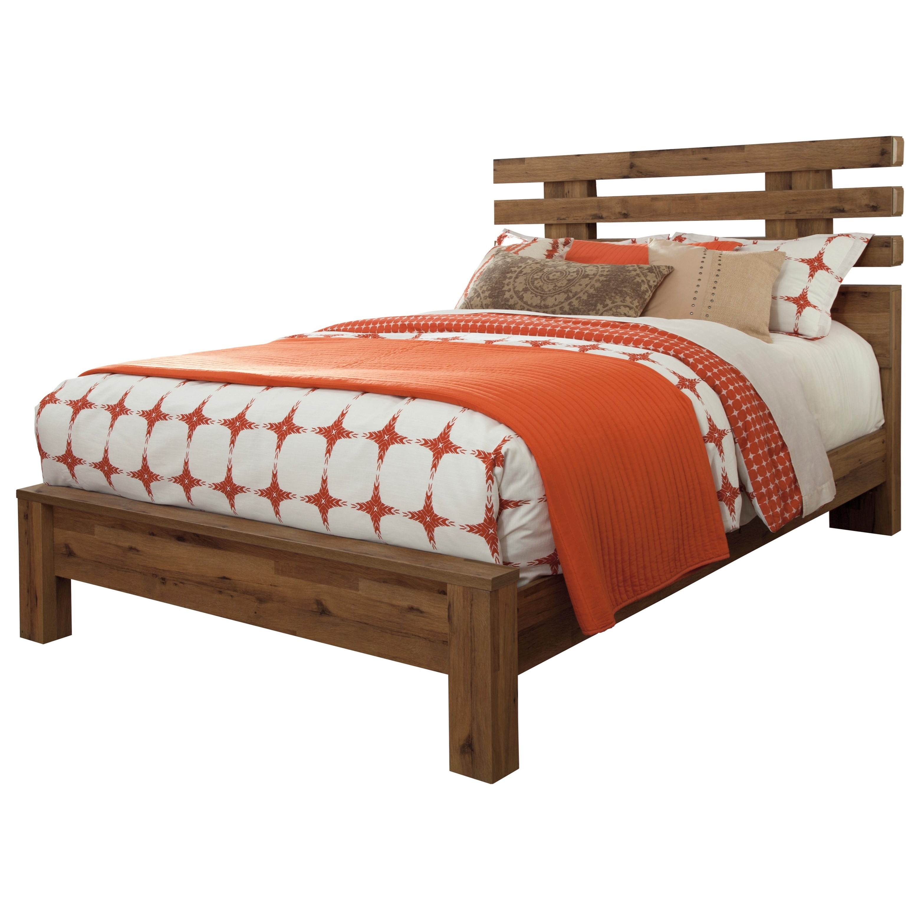 Contemporary queen panel bed with wide slats on headboard for Panel bed mattress
