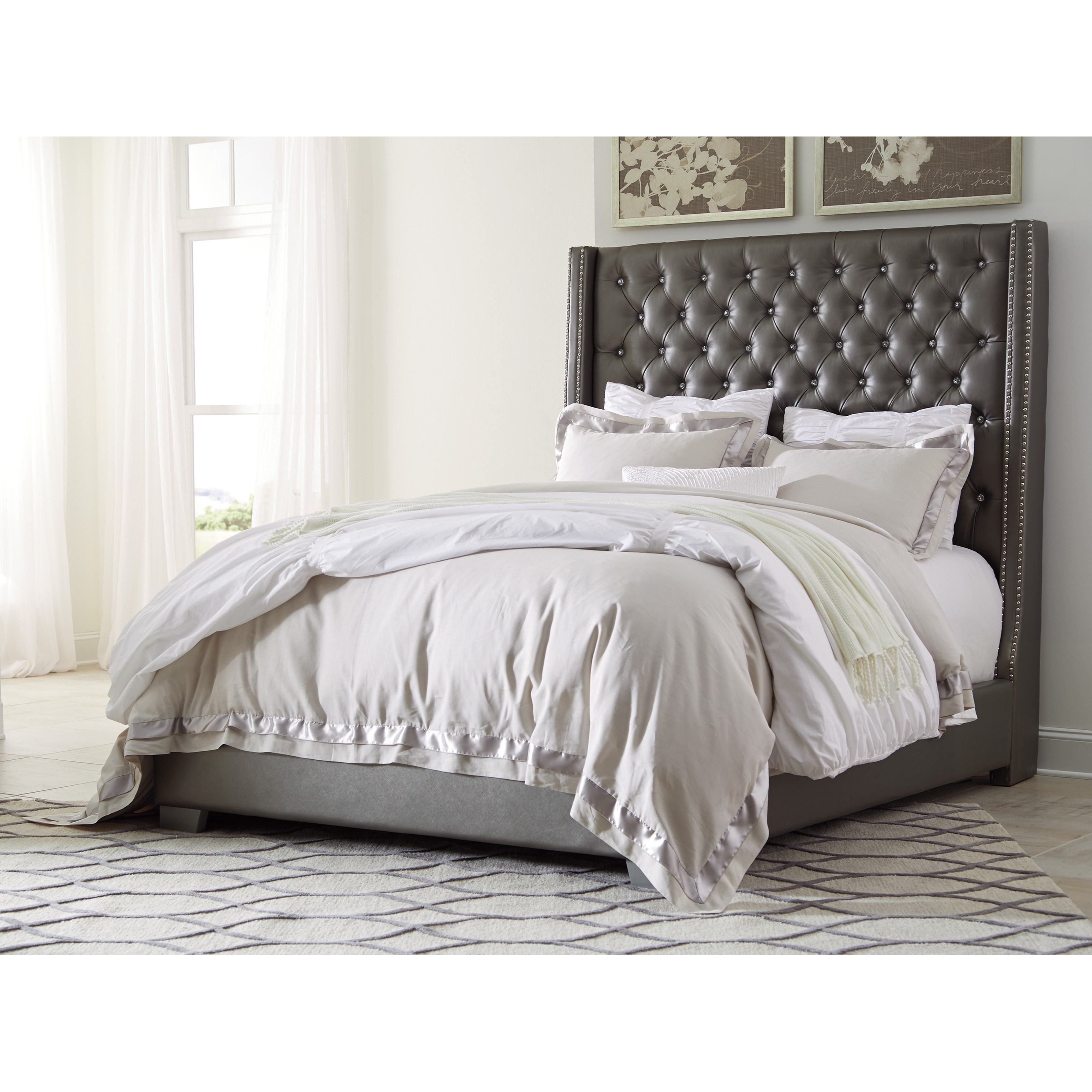 Queen upholstered bed with tall headboard with faux for Upholstered beds
