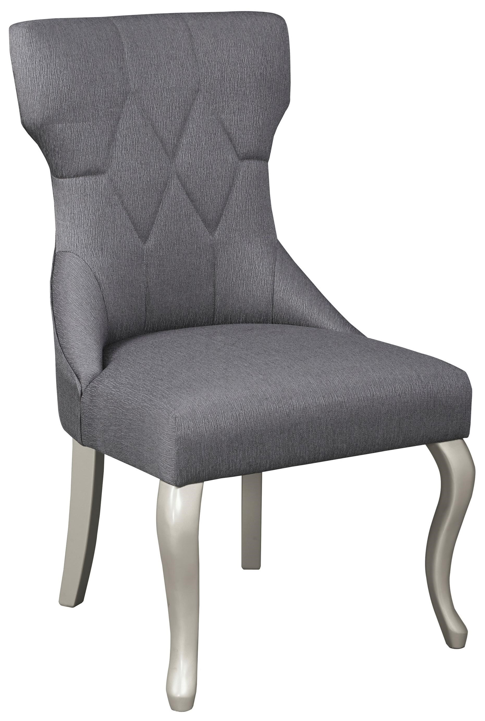 Dining upholstered side chair with silver finish legs by for Upholstered dining chairs with black legs