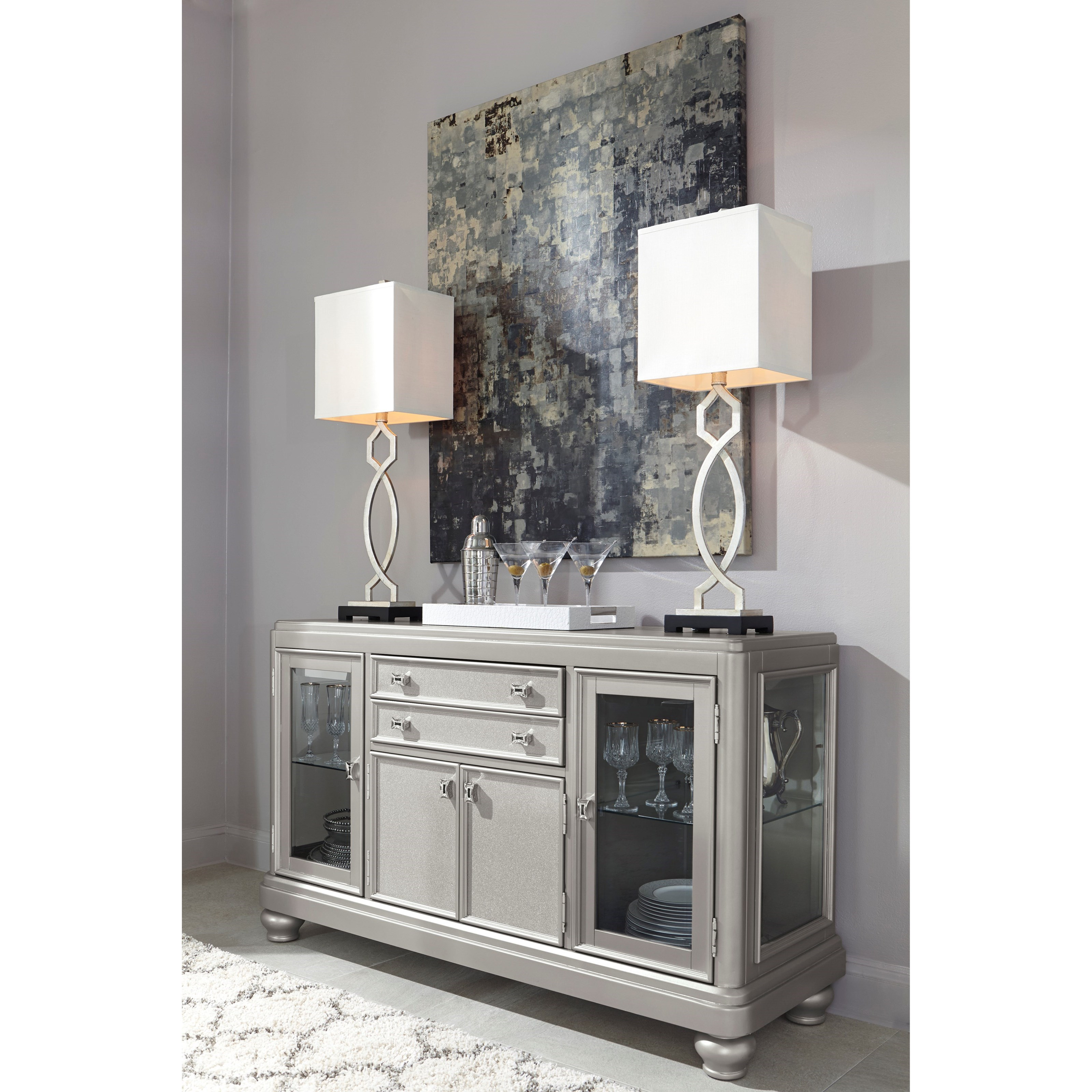 Dining Room Server With Glass Doors Silver Finish By Signature Design B