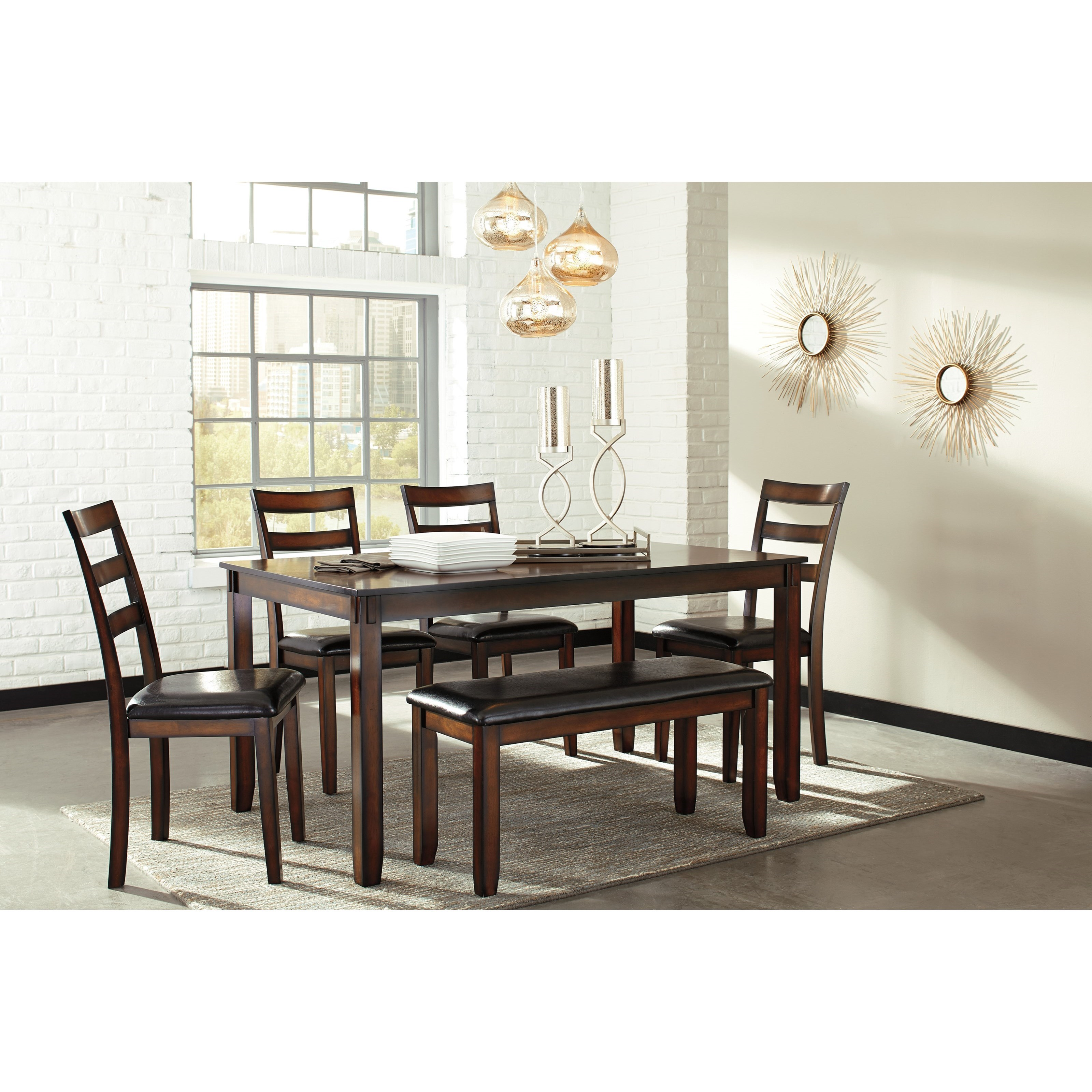 Burnished Brown 6-Piece Dining Table Set With Bench By