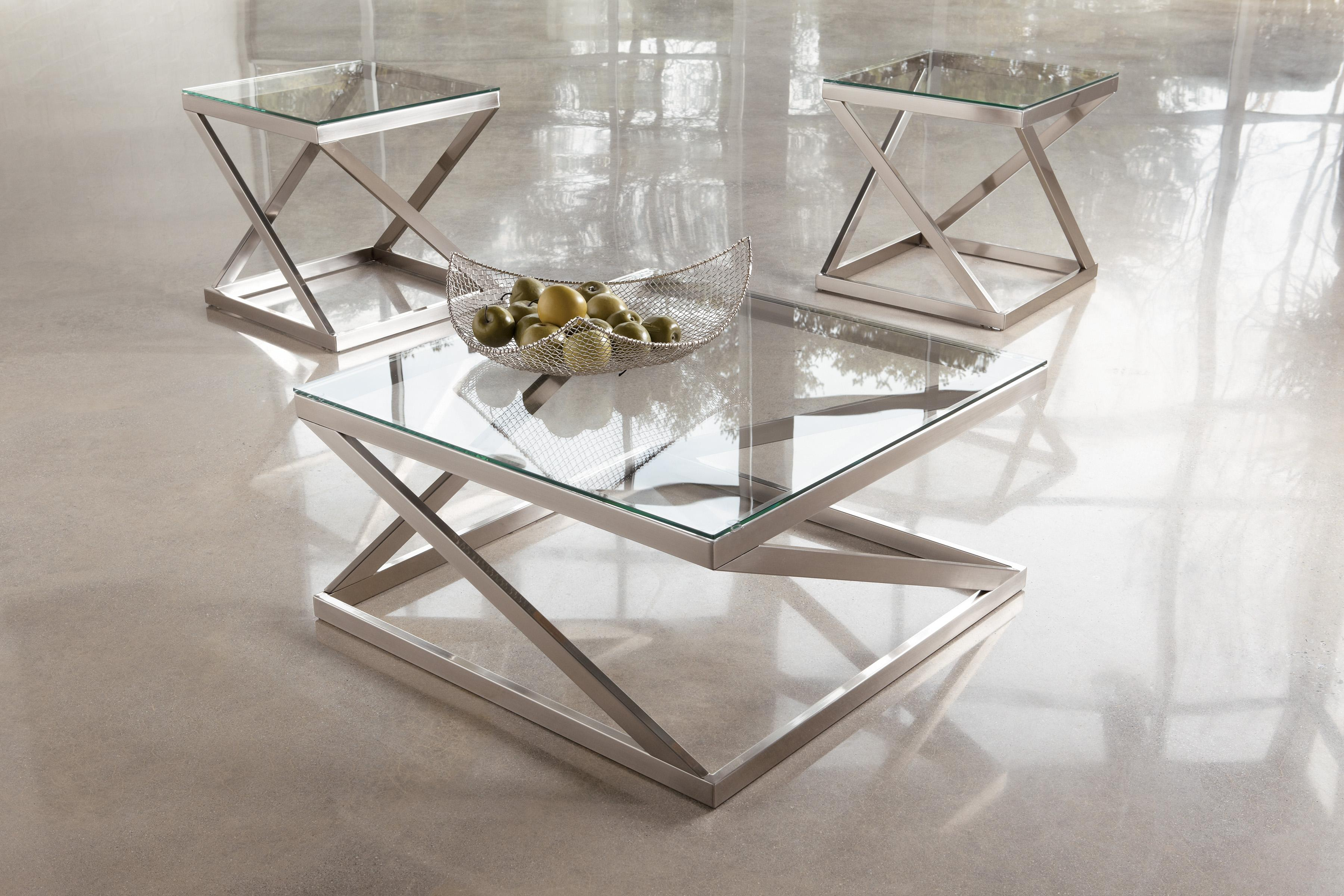 Brushed Metal Square Cocktail Table With Clear Tempered
