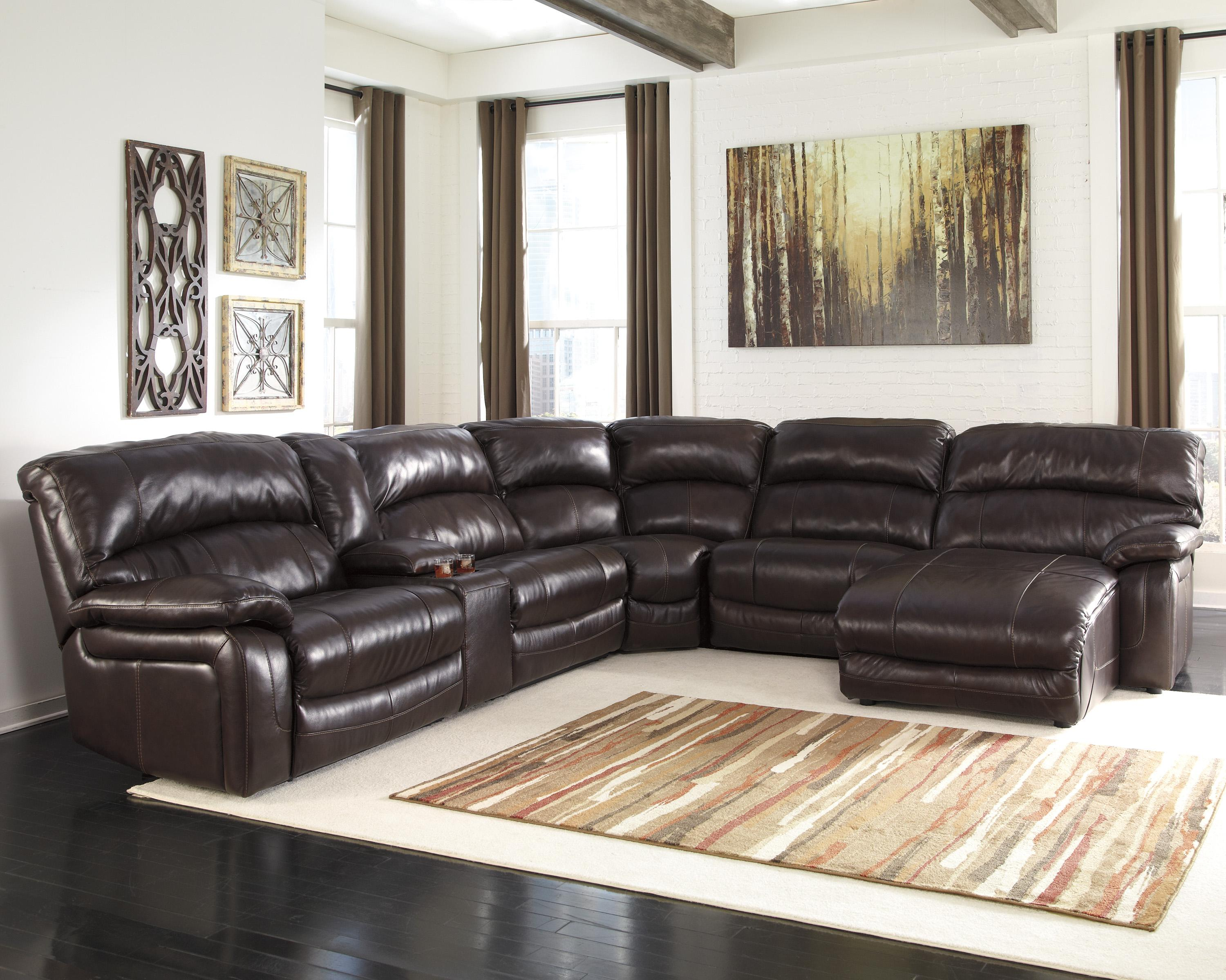 Reclining sectional w console right press back chaise for Ashley large sectional sofa