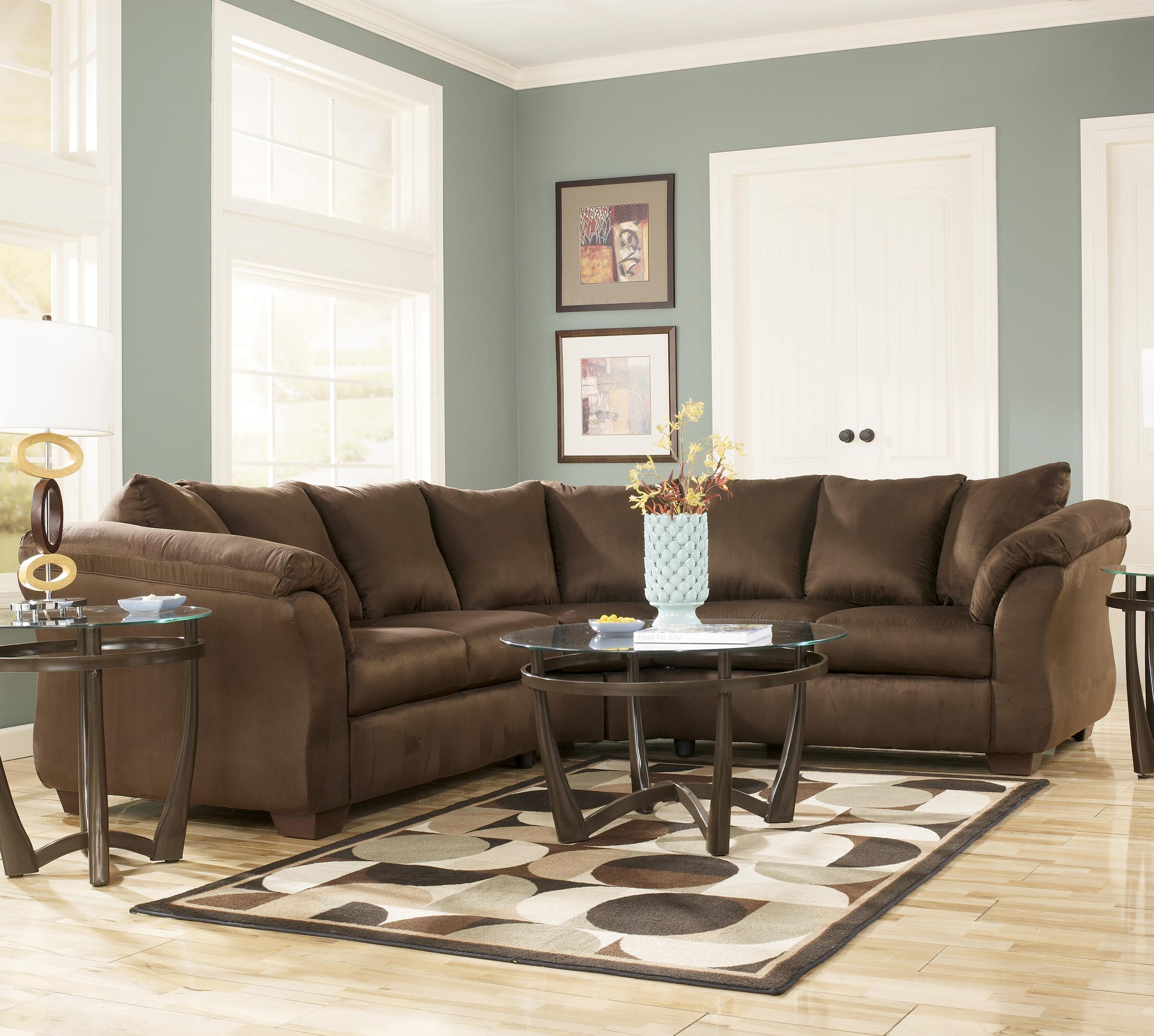 Contemporary Sectional Sofa with Sweeping Pillow Arms by