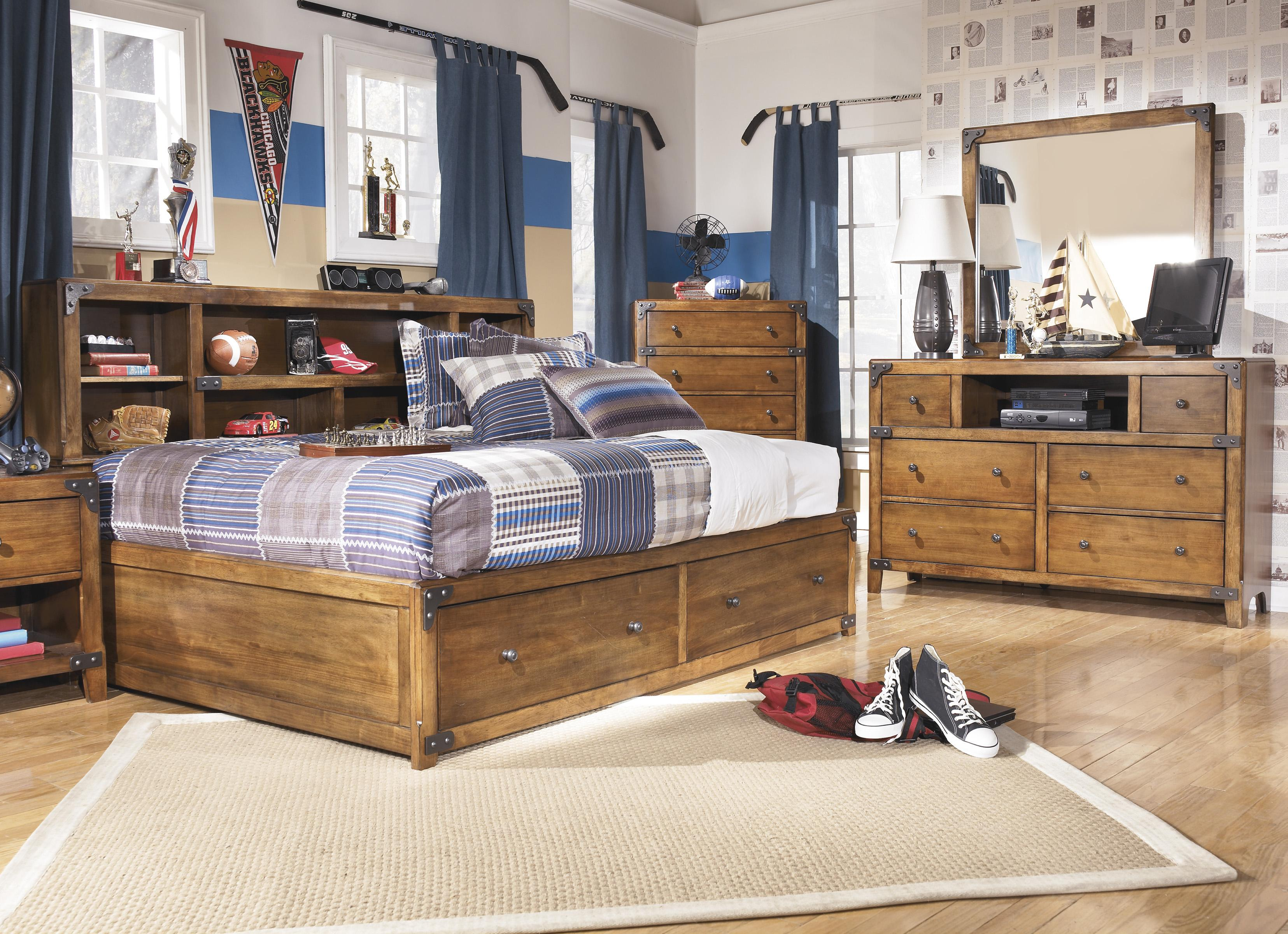 Full Bookcase Bed with Footboard Storage by Signature