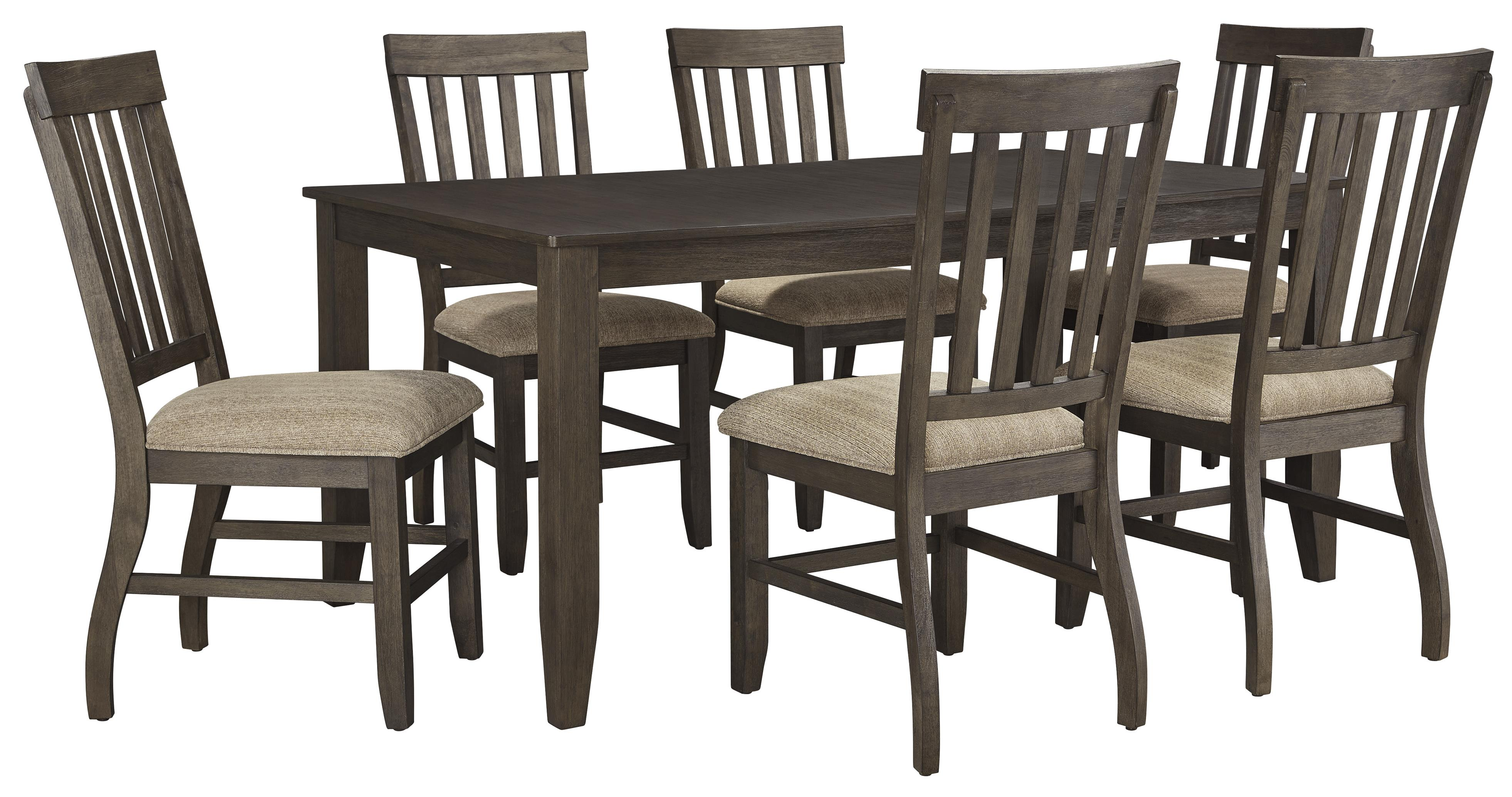 7 piece rectangular dining table set by signature design for Dining table set designs