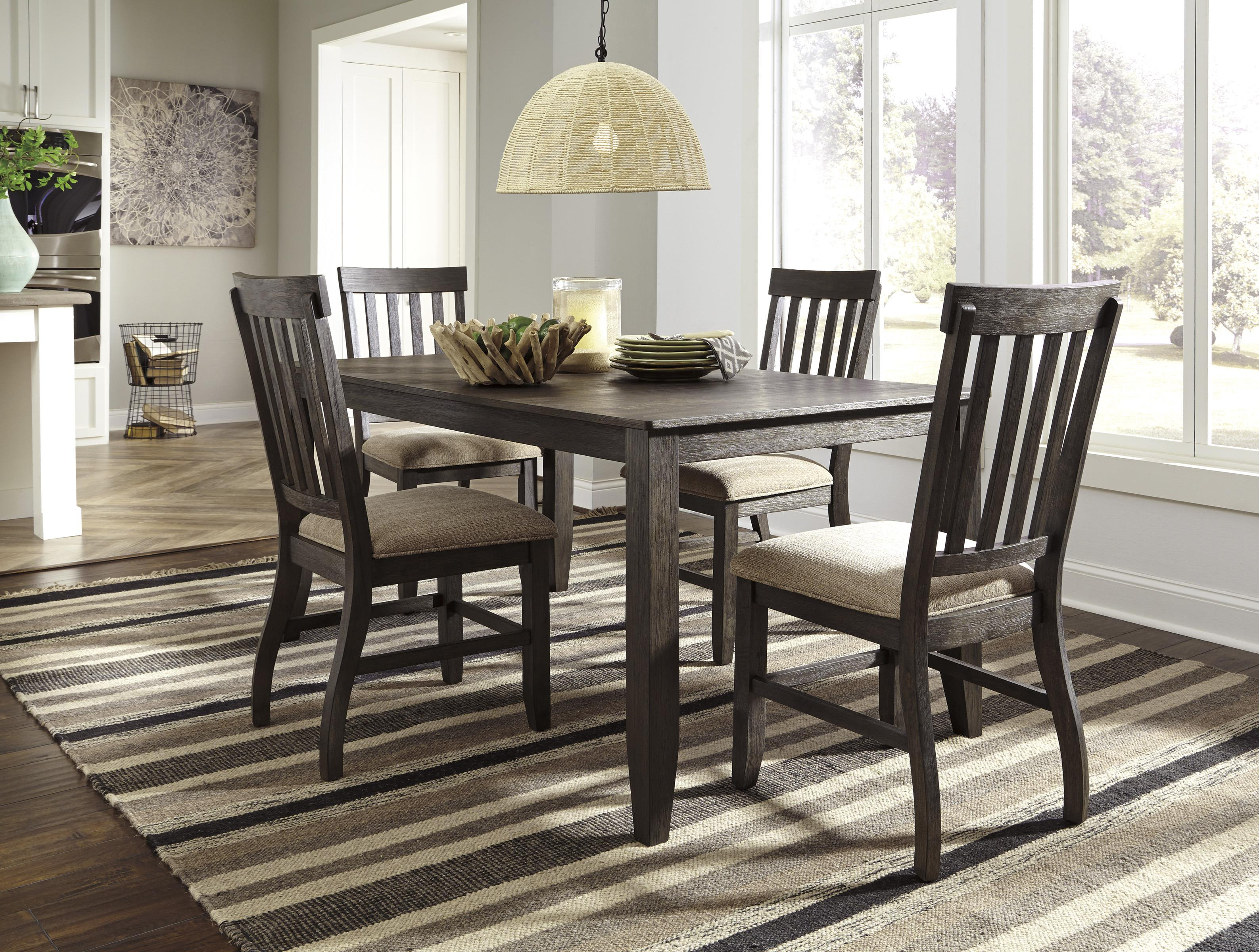 Rectangular Dining Room Table with Wire Brushed Brown Gray