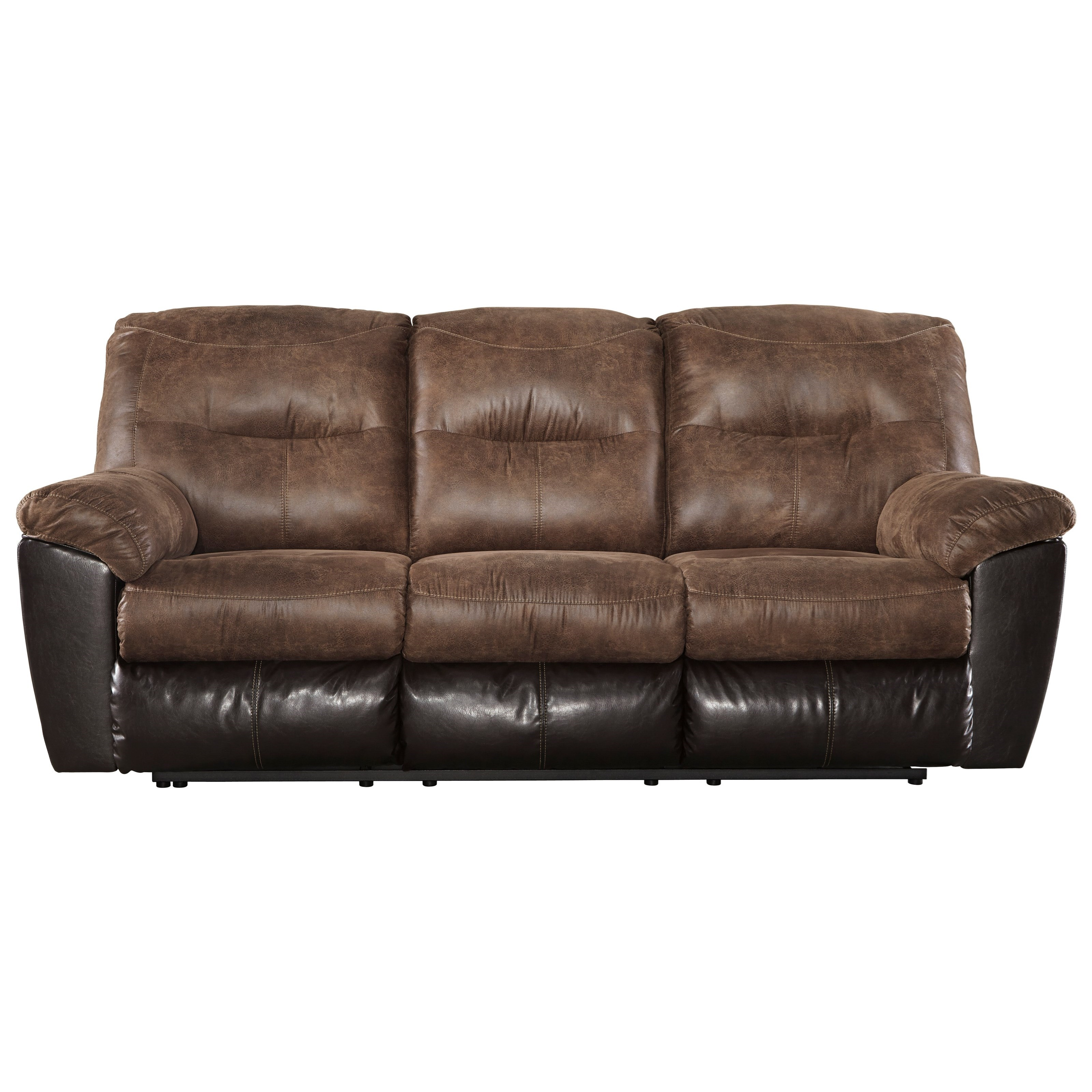 Two tone faux leather reclining sofa by signature design for Two sofas