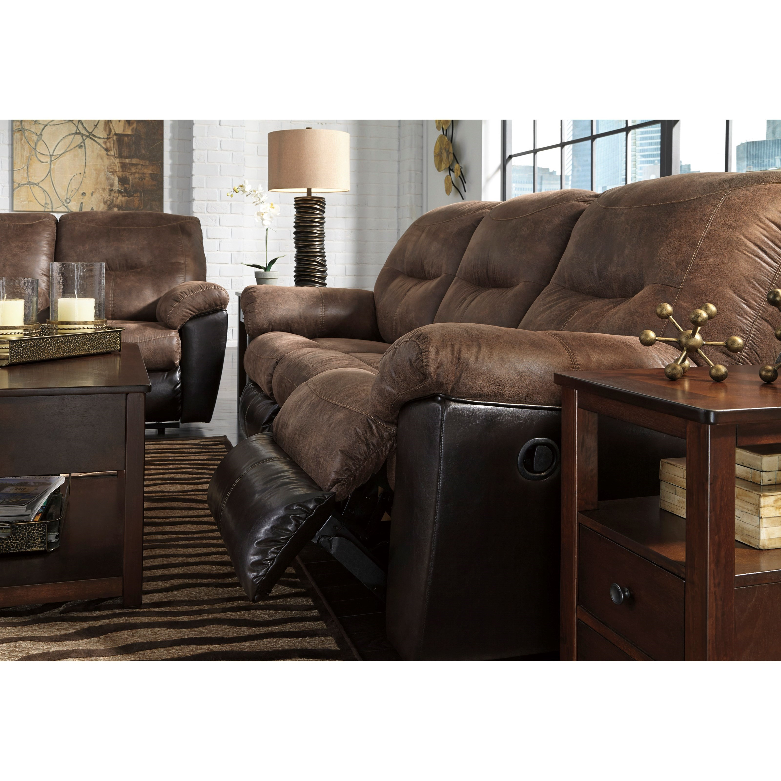 Sectional Sofa Design Leather: Two-Tone Faux Leather Reclining Sofa By Signature Design
