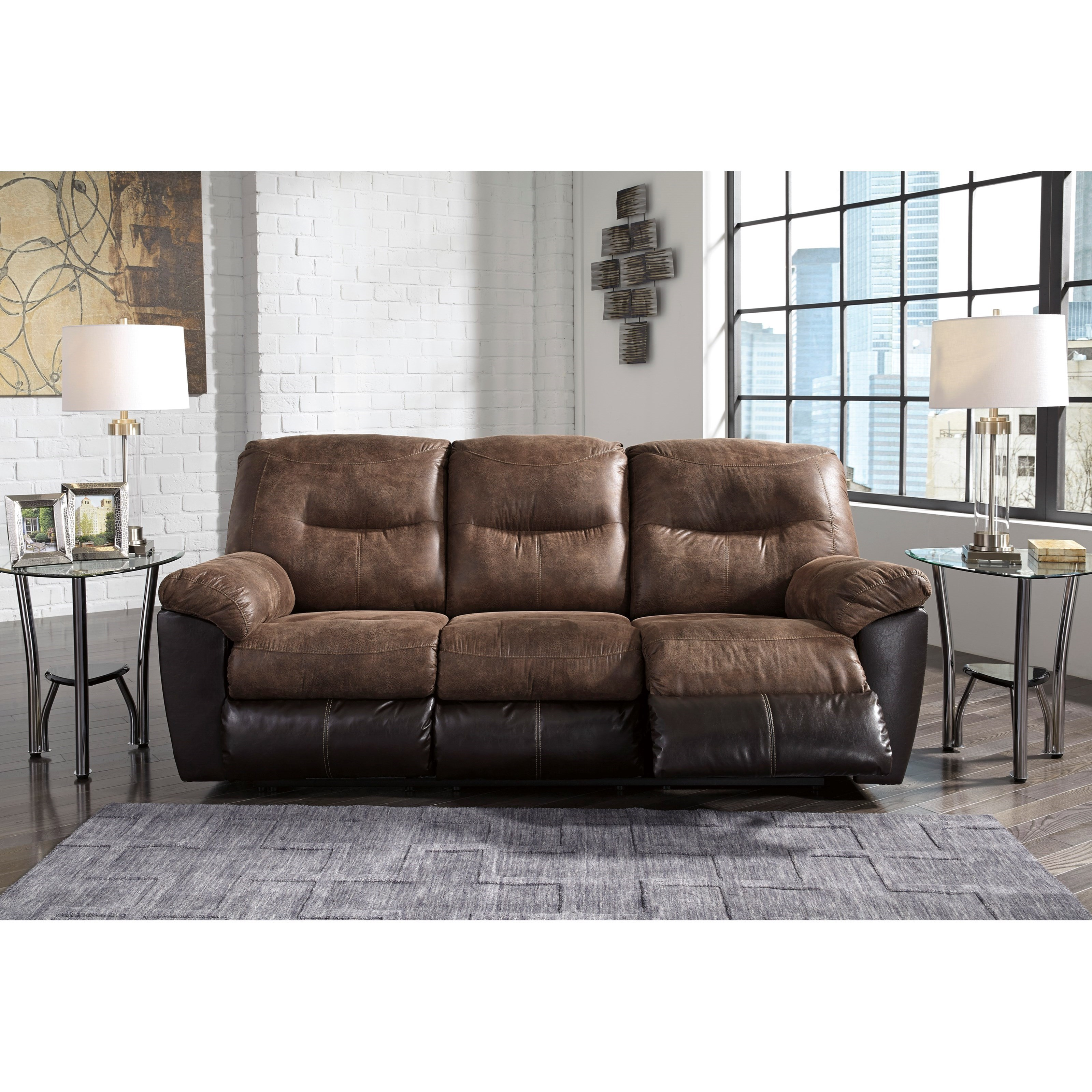 Two tone faux leather reclining sofa by signature design by ashley wolf and gardiner wolf - Sofa reclinable ...