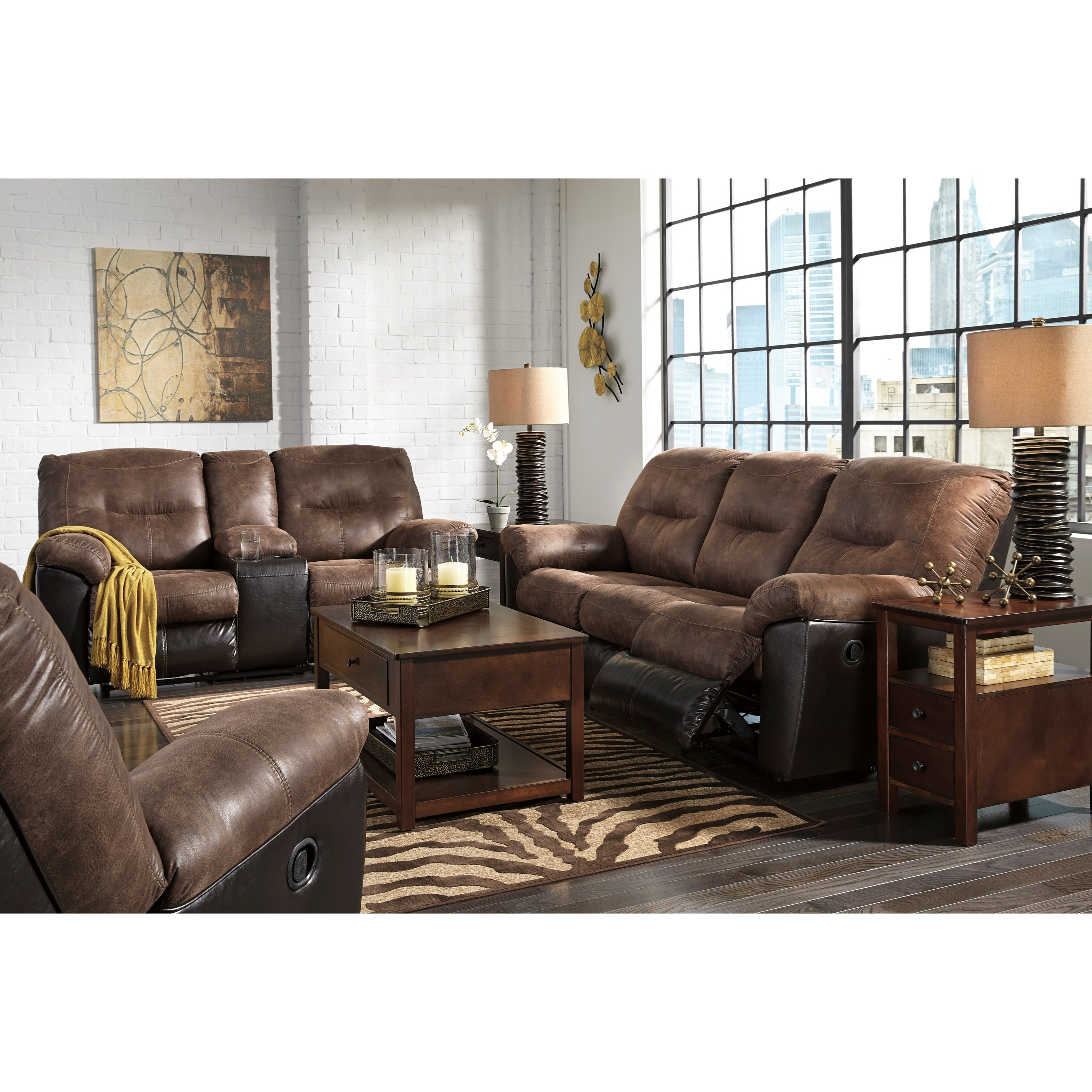 Two Tone Faux Leather Reclining Sofa By Signature Design