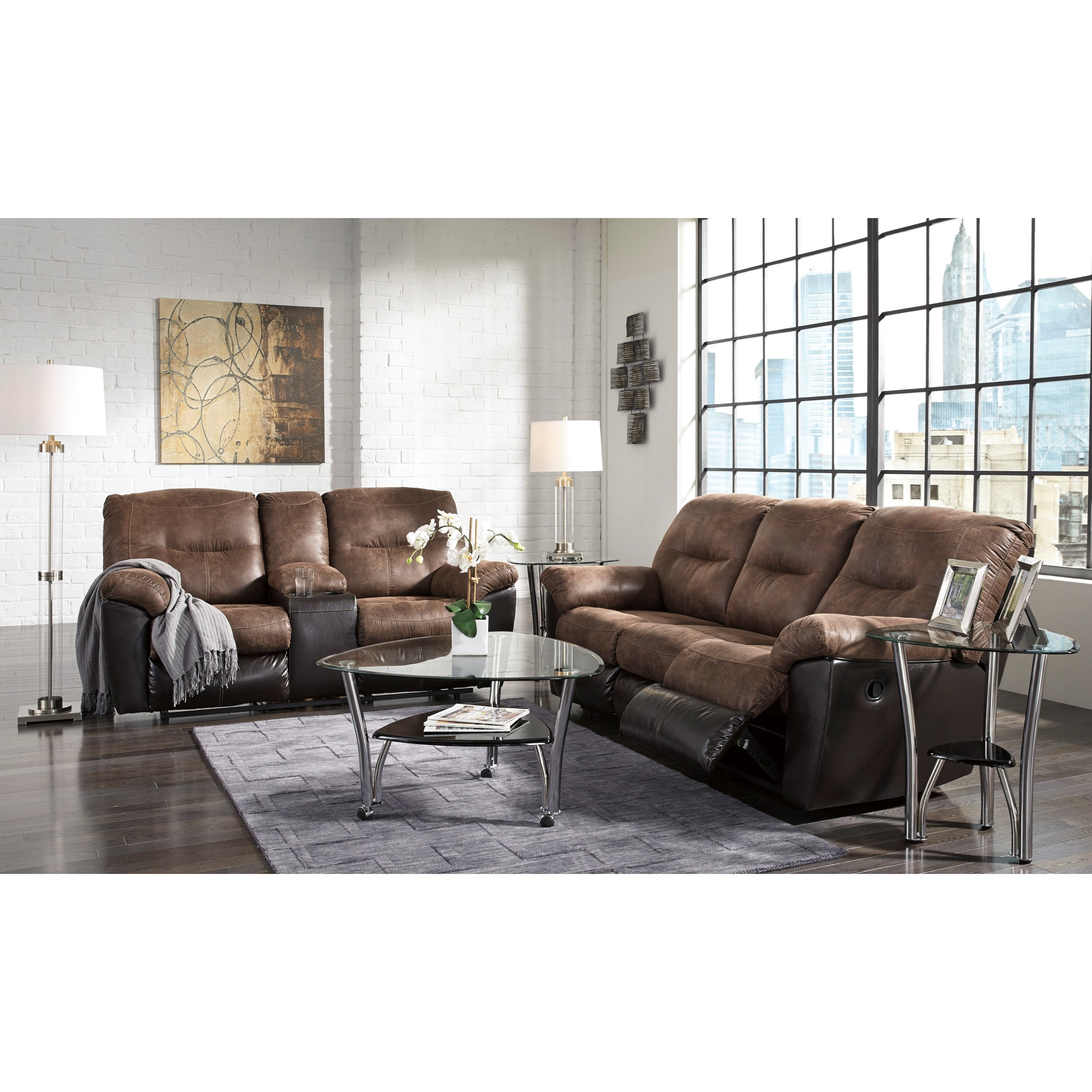 Two Tone Faux Leather Double Reclining Loveseat w Console