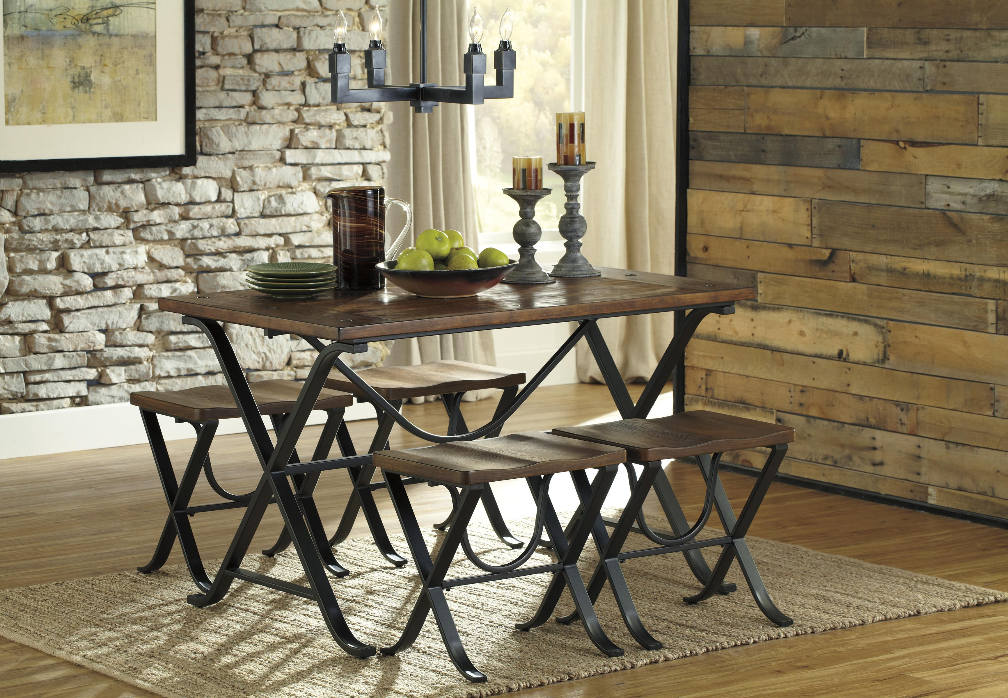 Industrial Style Rectangular Dining Room Table Set By Signature Design By Ash