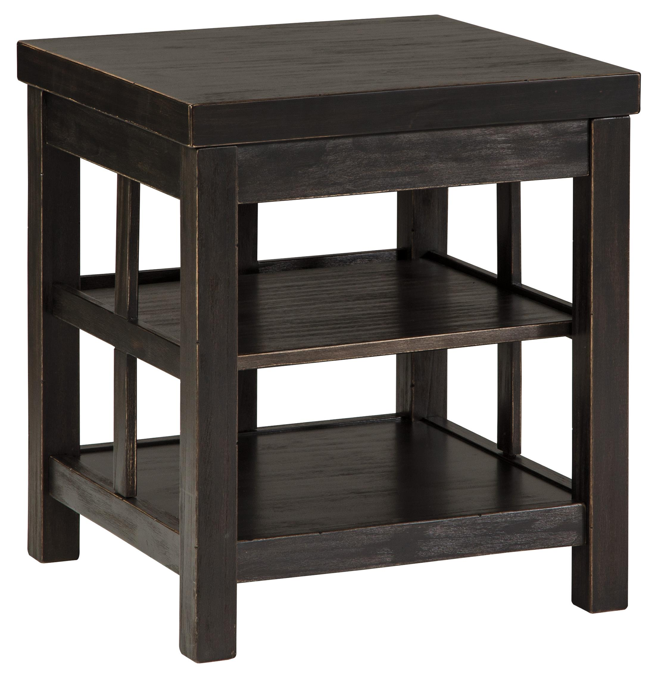 rustic distressed black square end table with 2 shelves by signature design by ashley wolf and. Black Bedroom Furniture Sets. Home Design Ideas