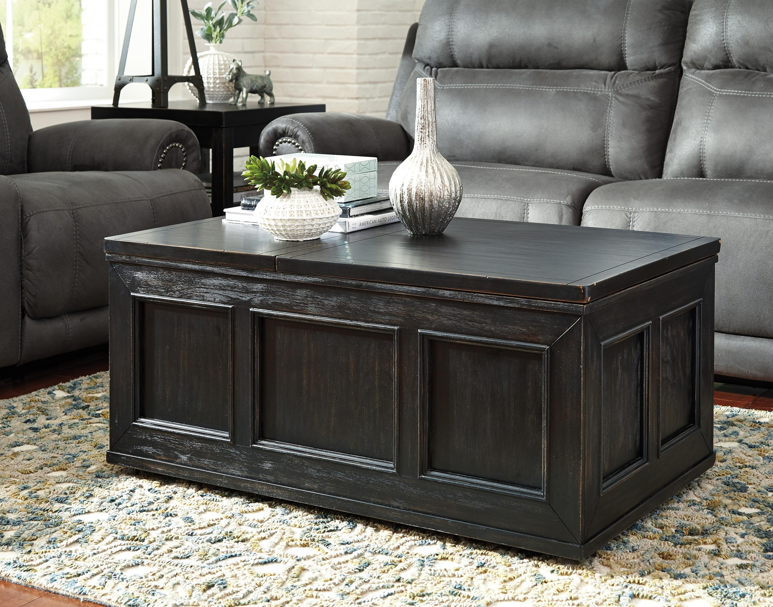 rustic distressed black trunk style lift top cocktail table w casters by signature design by. Black Bedroom Furniture Sets. Home Design Ideas