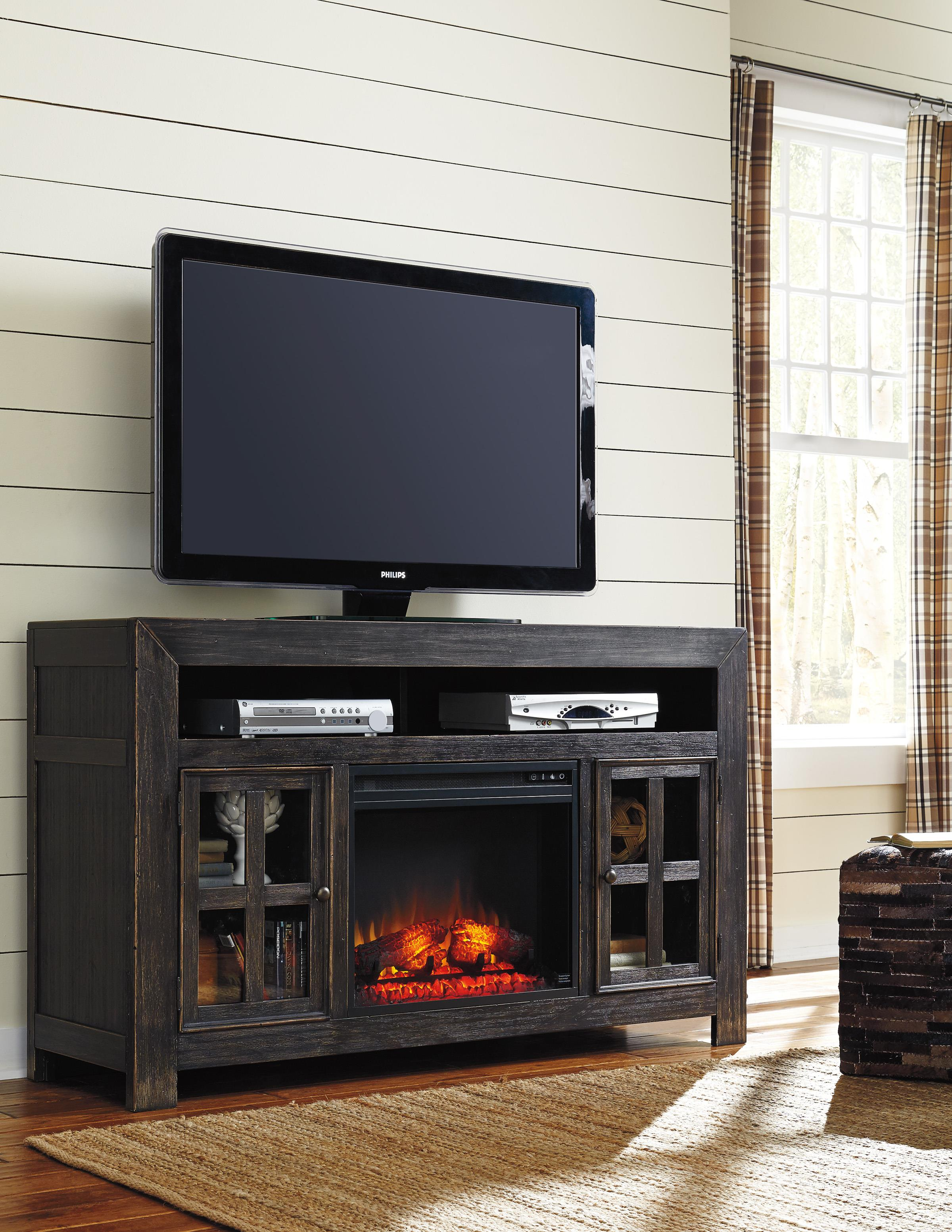 Distressed Black TV Stand with Electric Fireplace