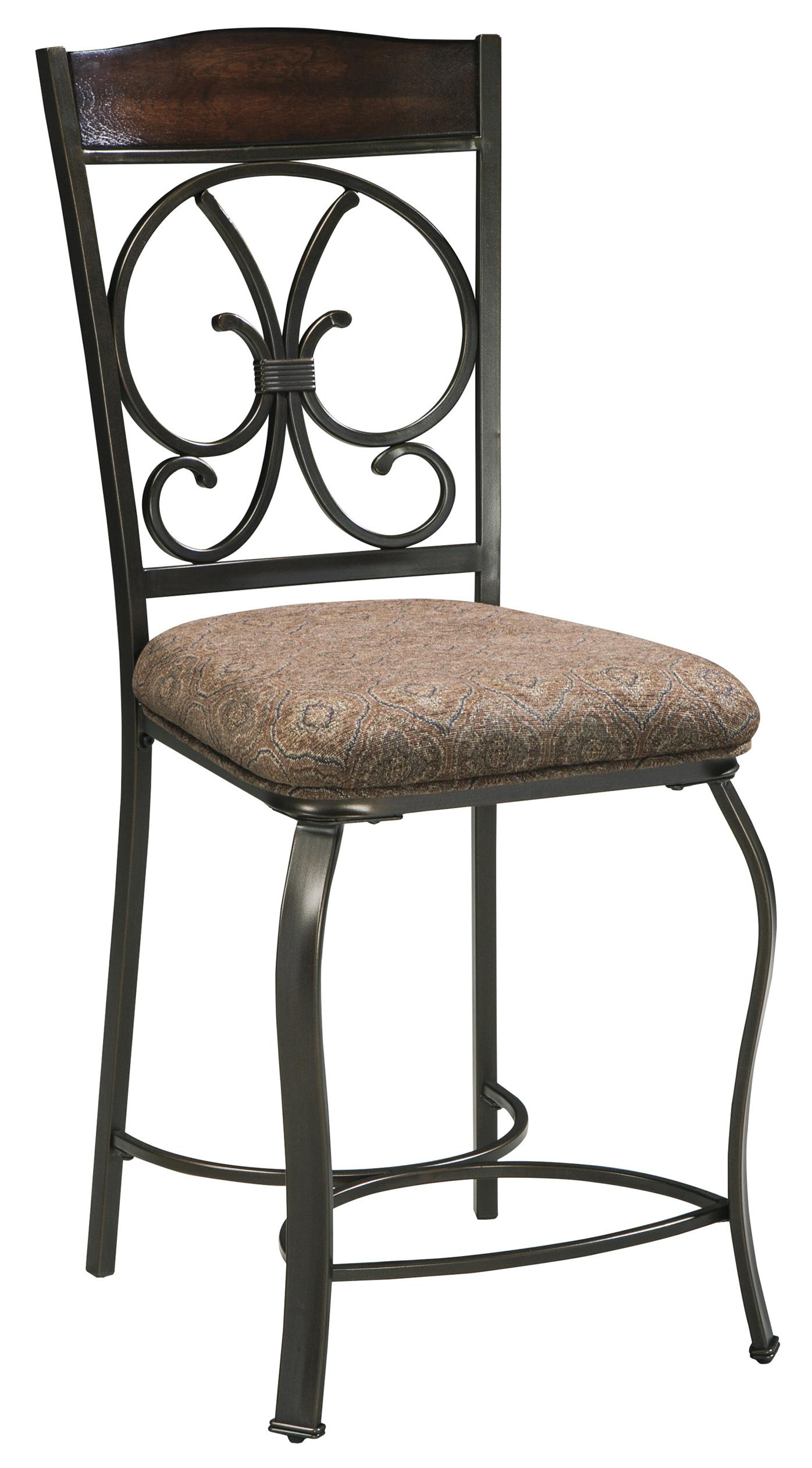 round counter table and 4 barstool set with metal accents by signature design by ashley wolf. Black Bedroom Furniture Sets. Home Design Ideas