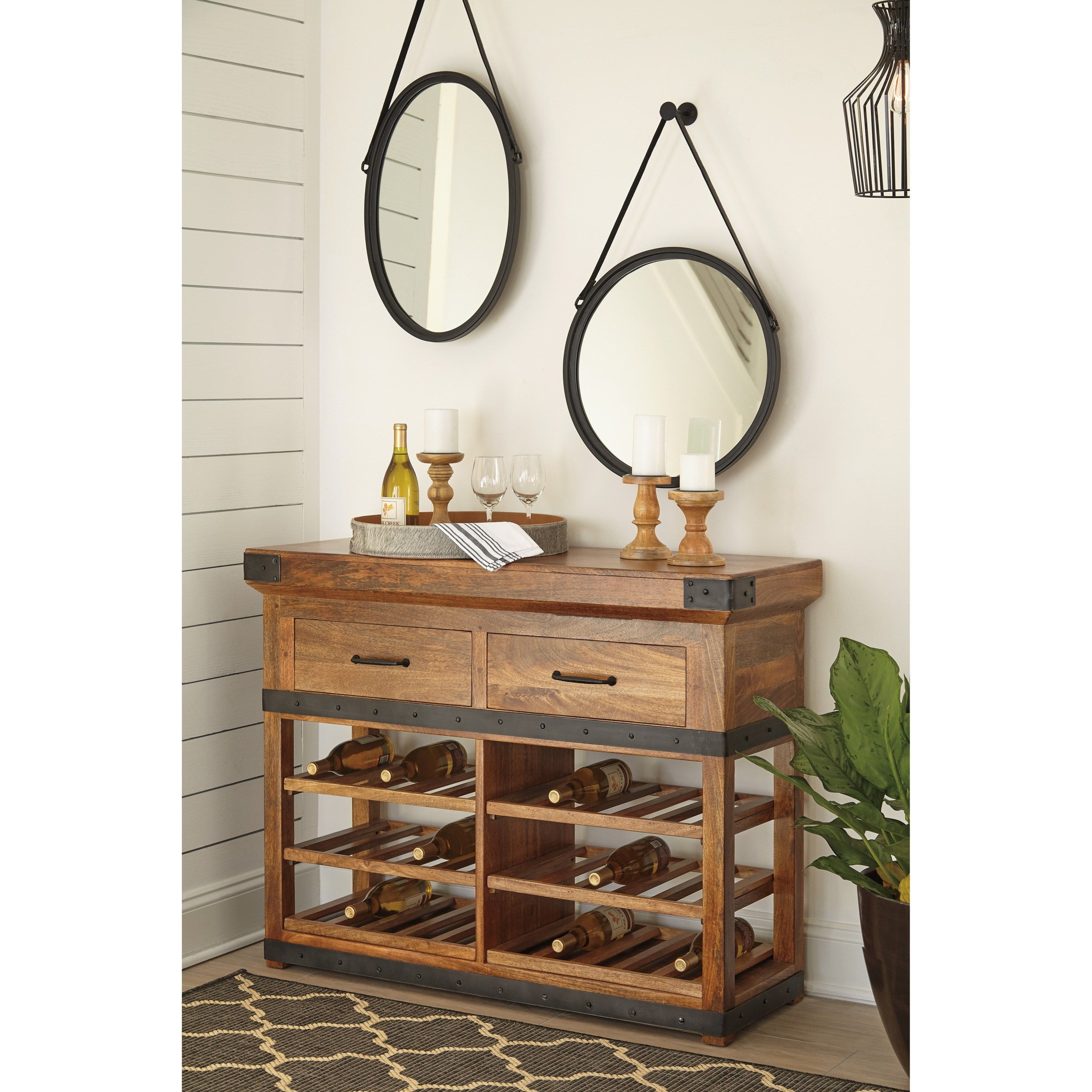 Solid wood mango wine cabinet with industrial metal for Wine and design west ashley
