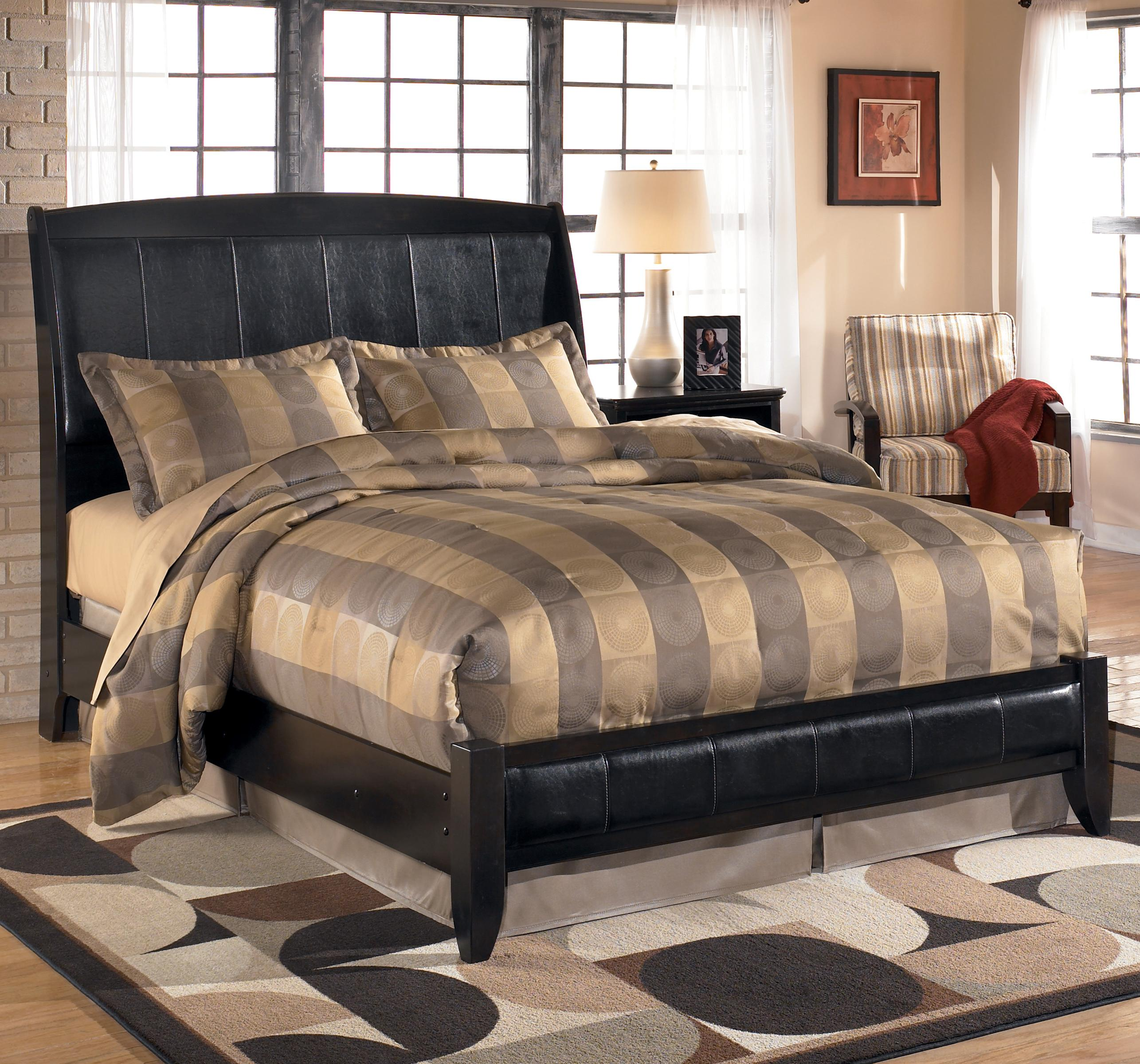 Queen Upholstered Sleigh Headboard With Platform Style Footboard By Signature Design By Ashley