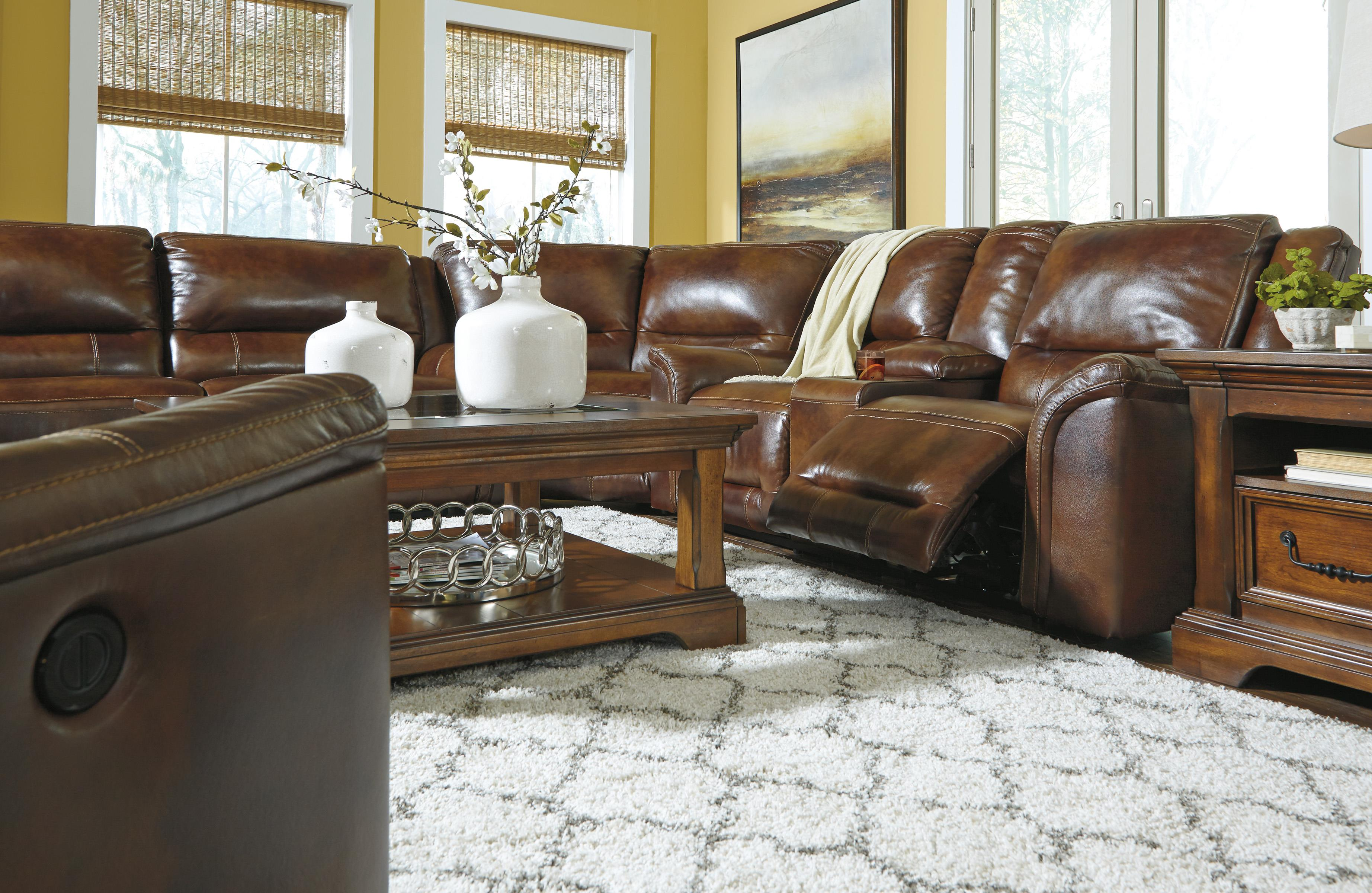 Contemporary Leather Match Reclining Power Sectional with