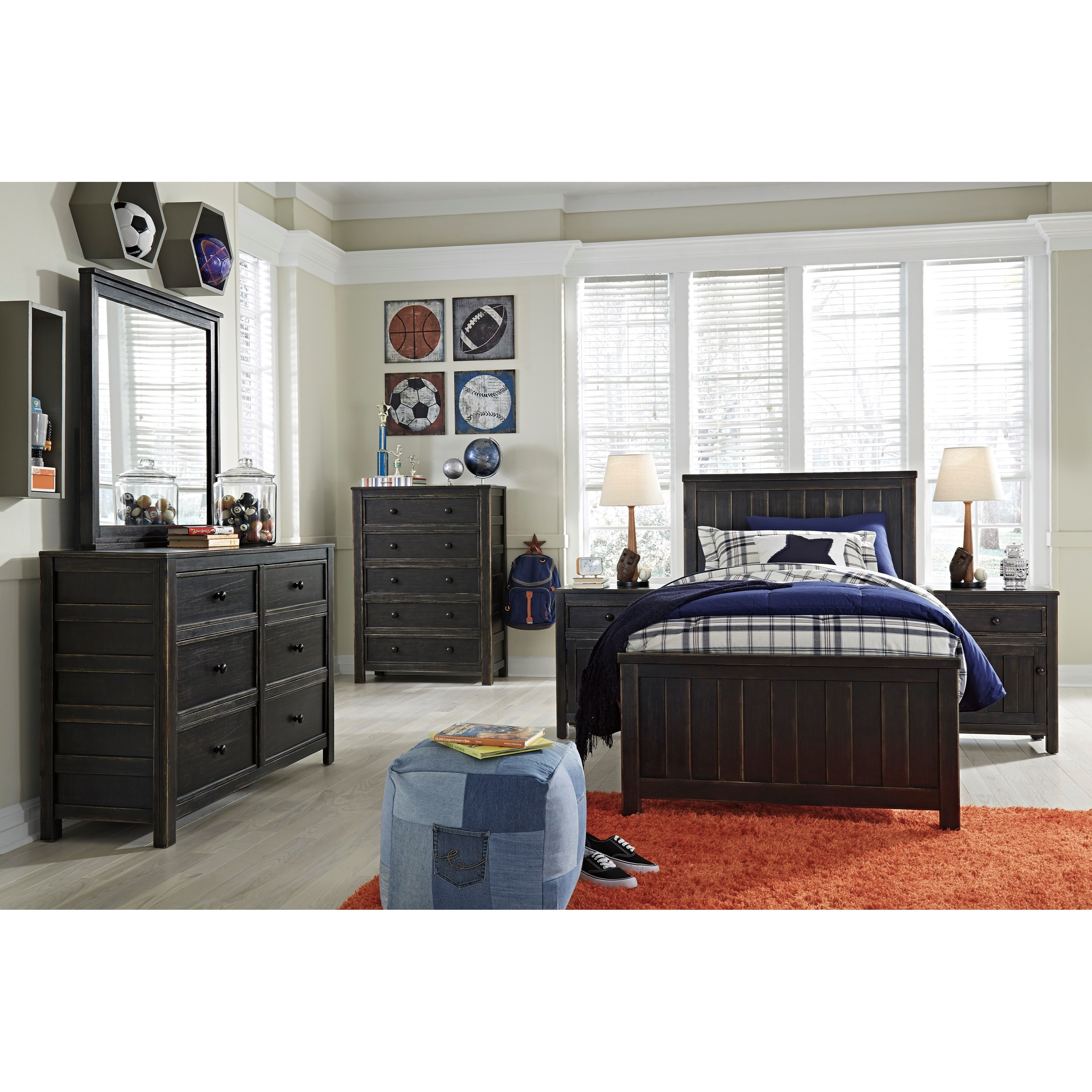 Twin Panel Bed in Rub Through Black Finish by Signature