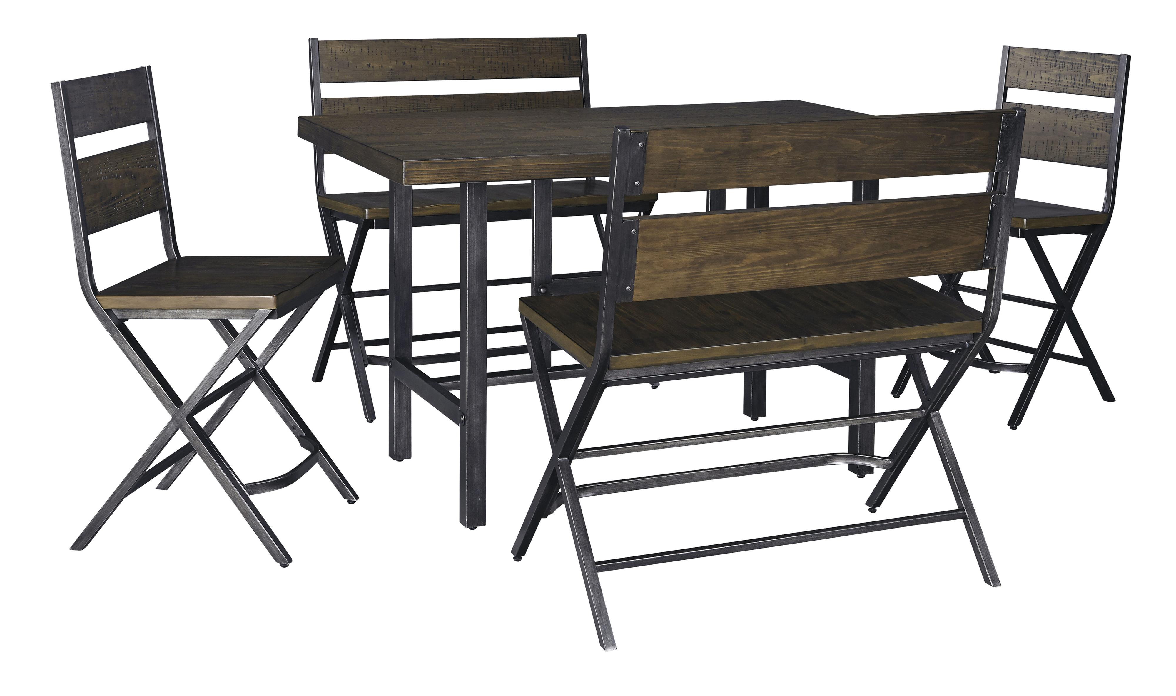 5 Piece Counter Table W 2 Bar Stool And 2 Double Bar Stool Set By Signature Design By Ashley