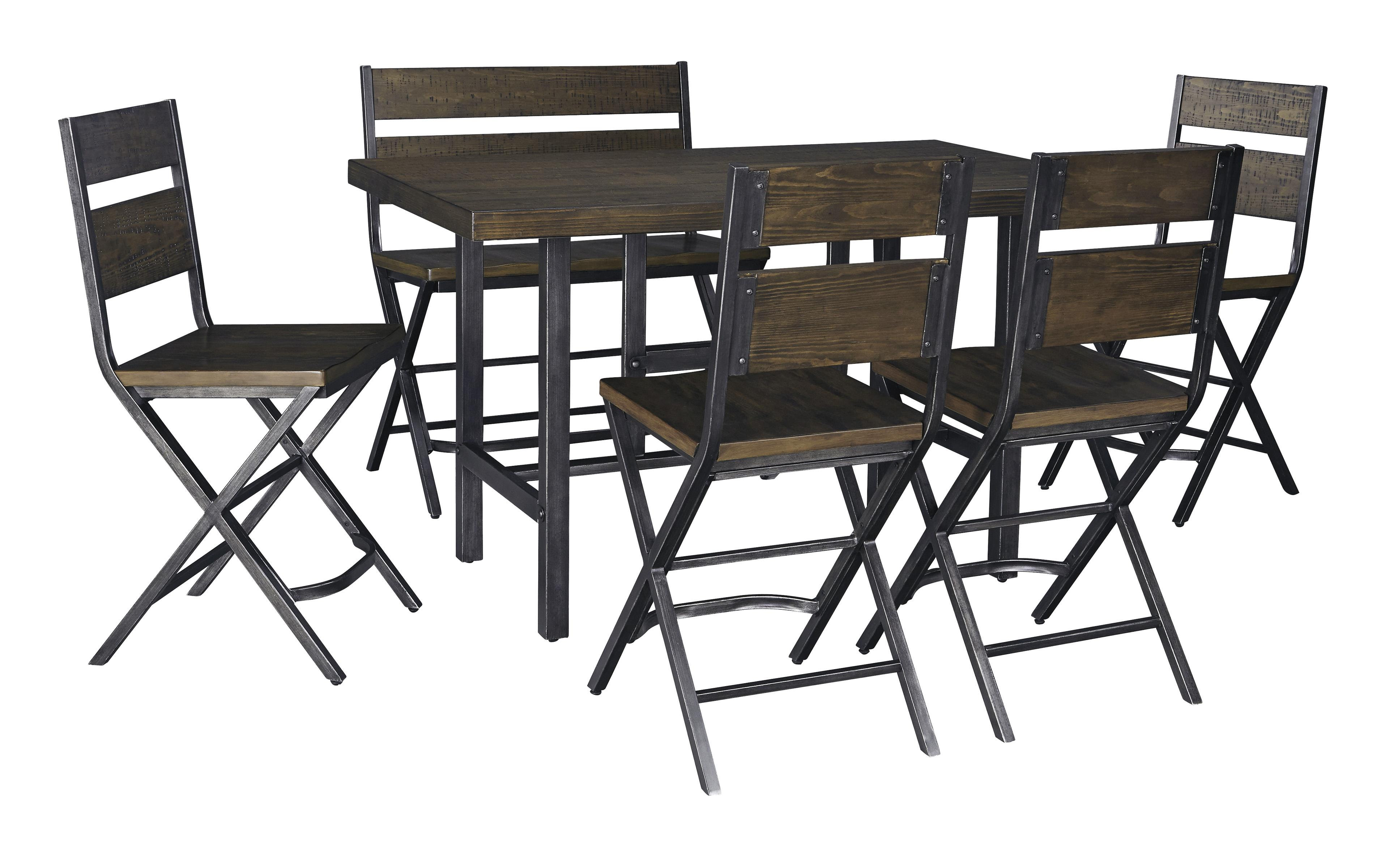 6 piece rectangular dining room counter table w pine veneers w 4 bar stools w shaped foot. Black Bedroom Furniture Sets. Home Design Ideas