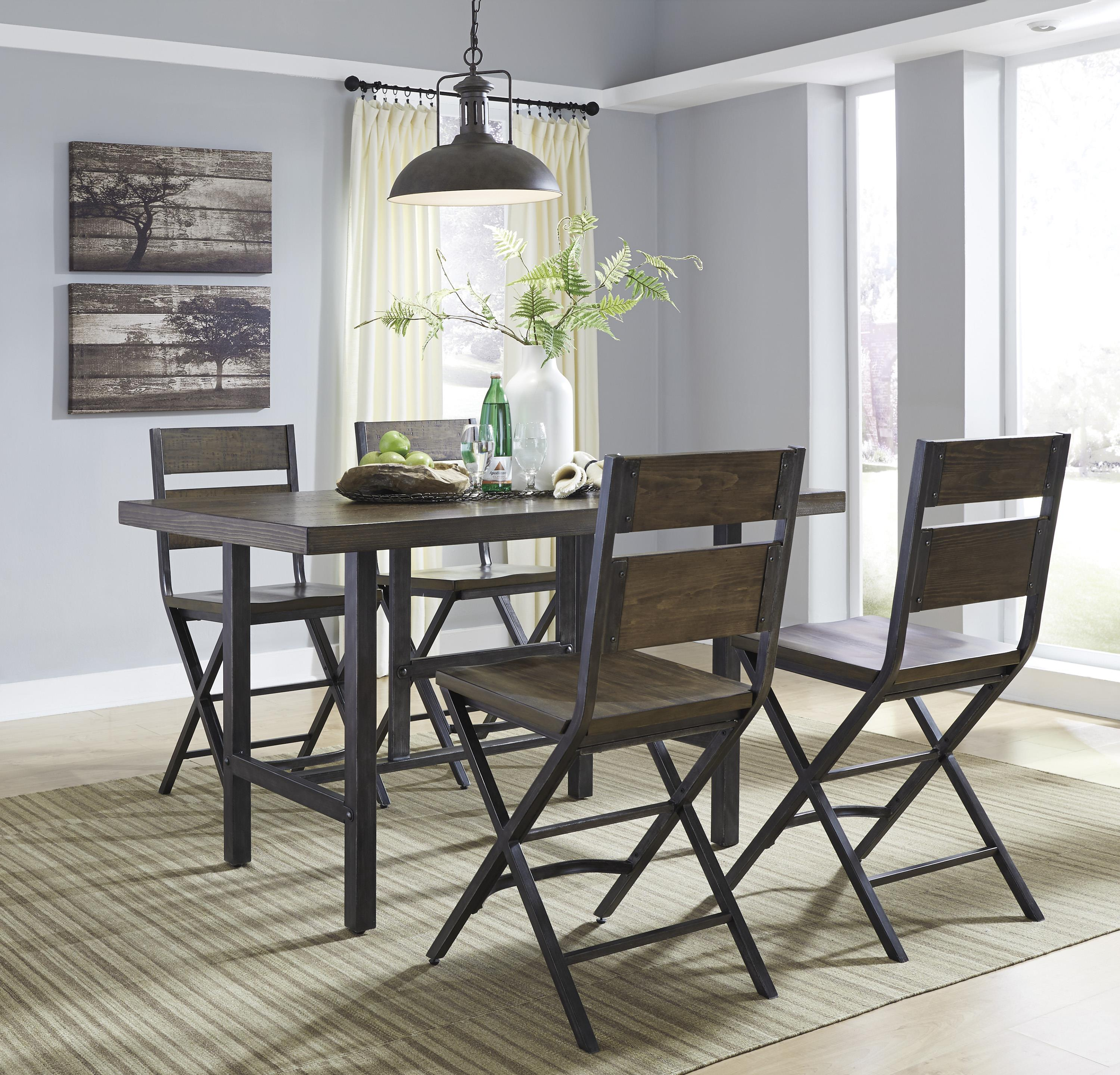 5 piece rectangular dining room counter table w pine veneers and bar stool w shaped foot rest. Black Bedroom Furniture Sets. Home Design Ideas