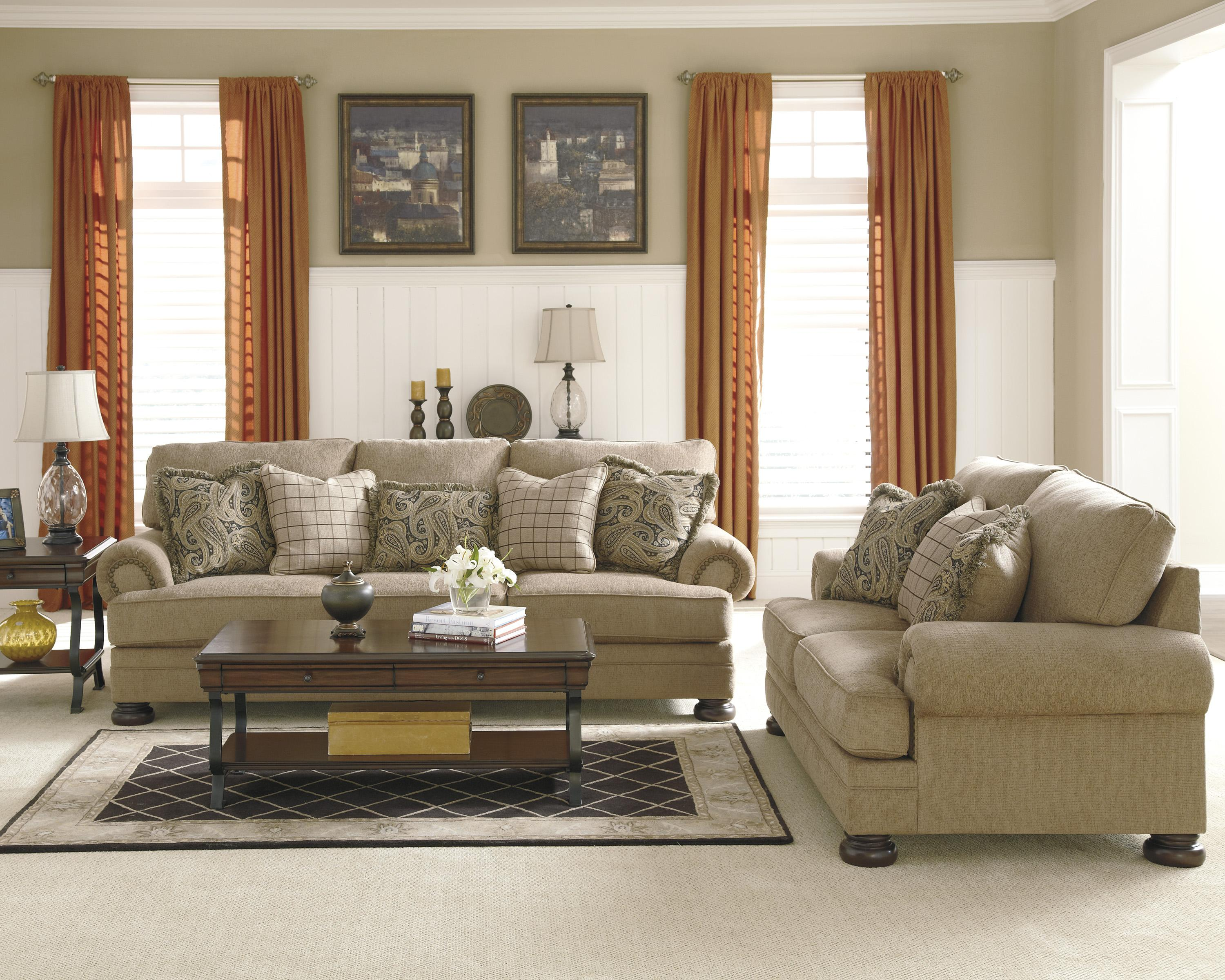 Transitional Sofa with Rolled Arms and Bun Feet by