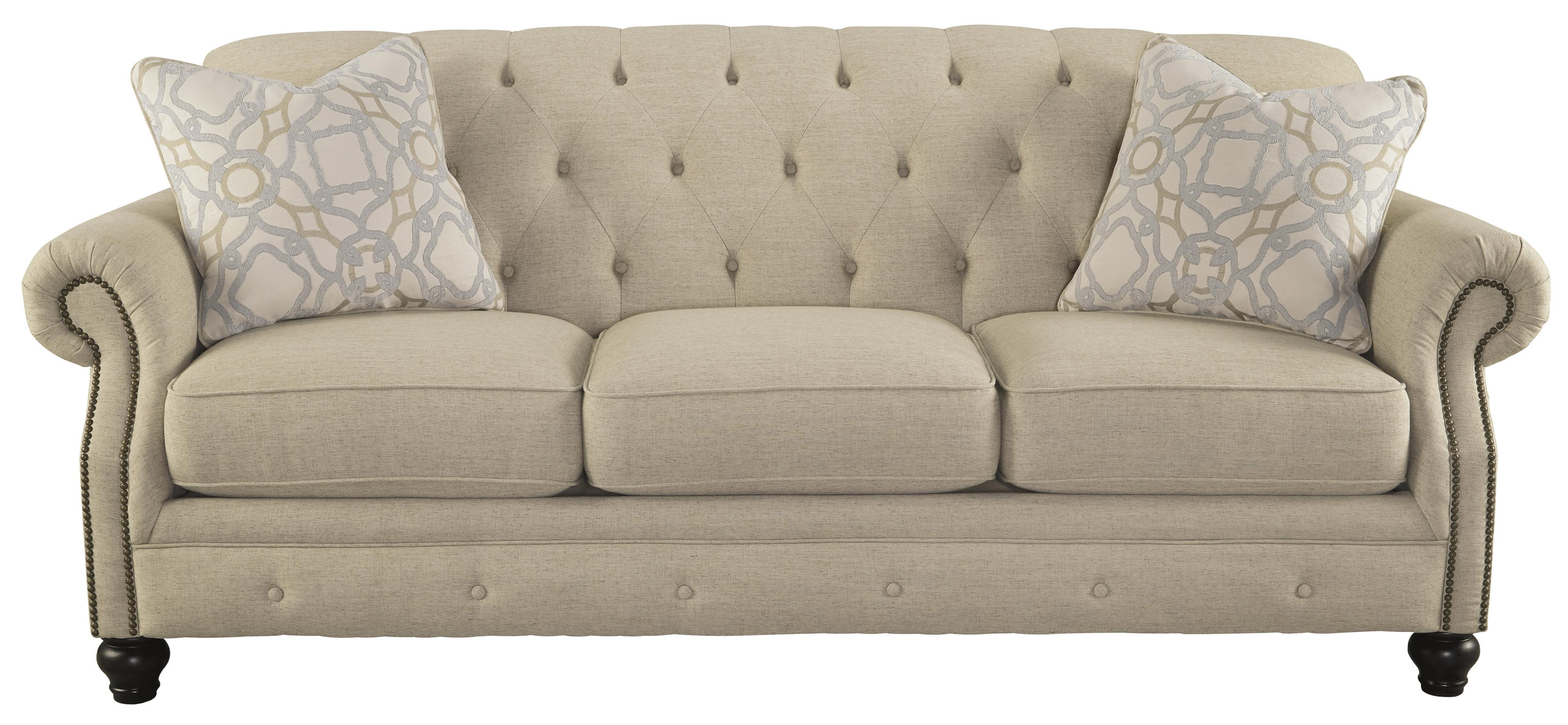 Traditional sofa with tufted back and feather blend accent for Traditional sofas and loveseats