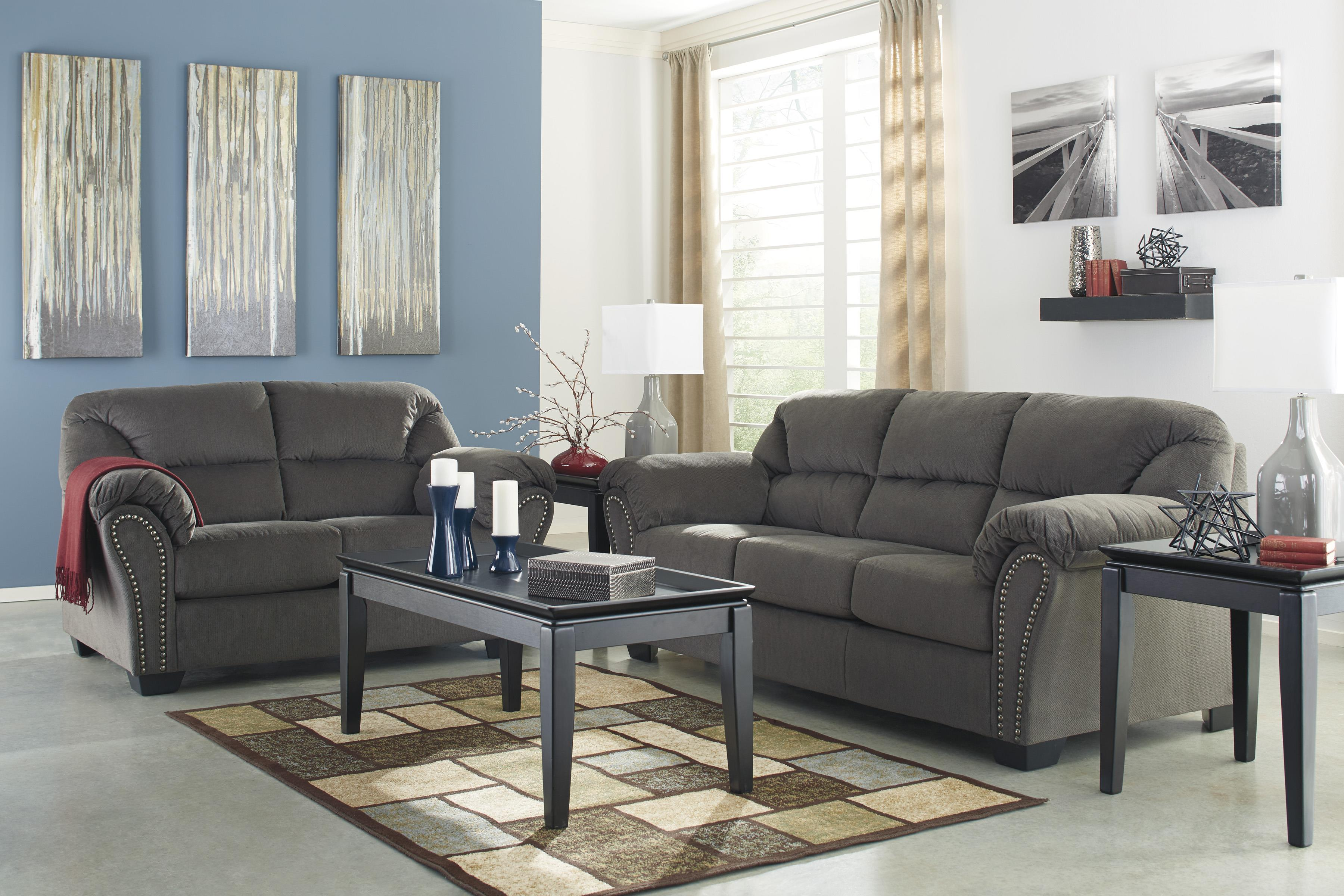 Sofa with Nailhead Trim and Pillow Arms by Signature