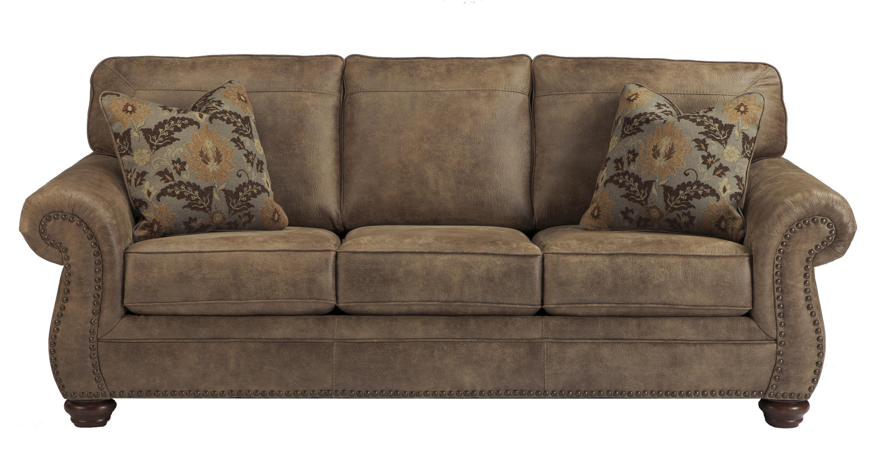 Faux leather traditional queen sofa sleeper by signature for Sectional sofas gardiners