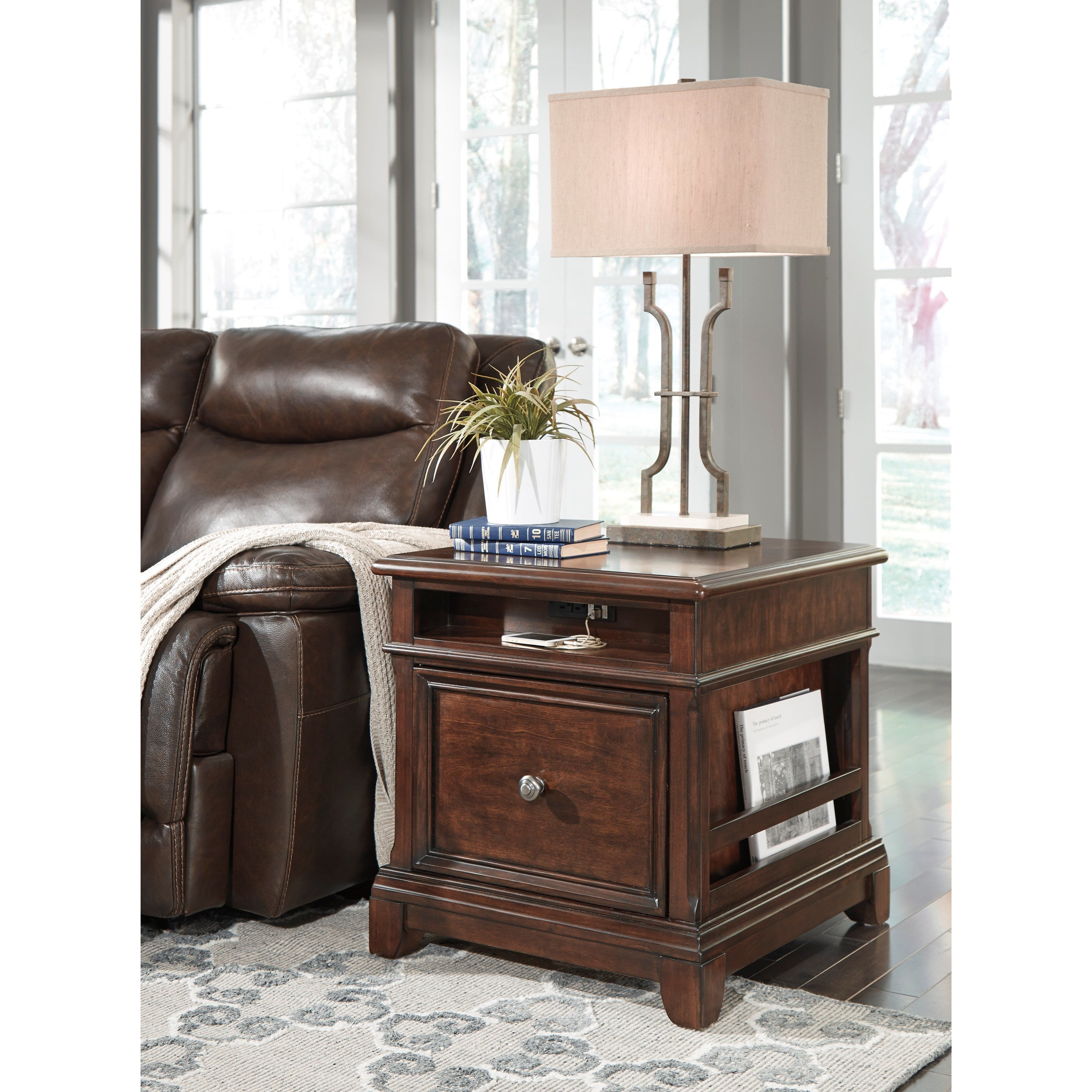 Attractive Marvelous Photograph Of End Table With File Drawer Power Outlet/USB  Charging And Magazine With