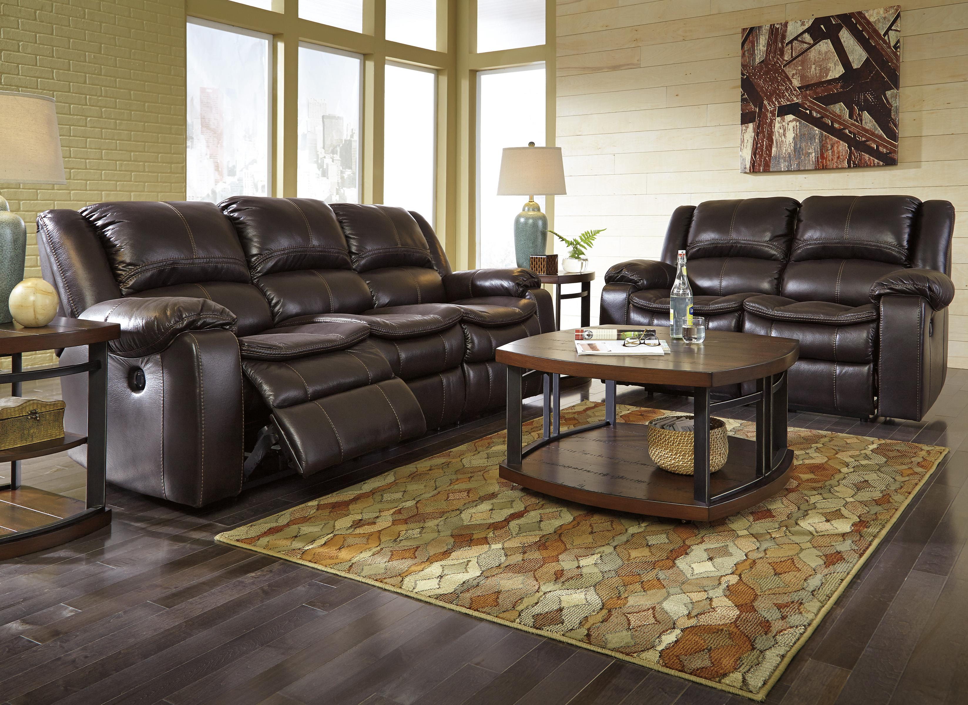 Faux Leather Reclining Sofa with Contoured Pillow Top
